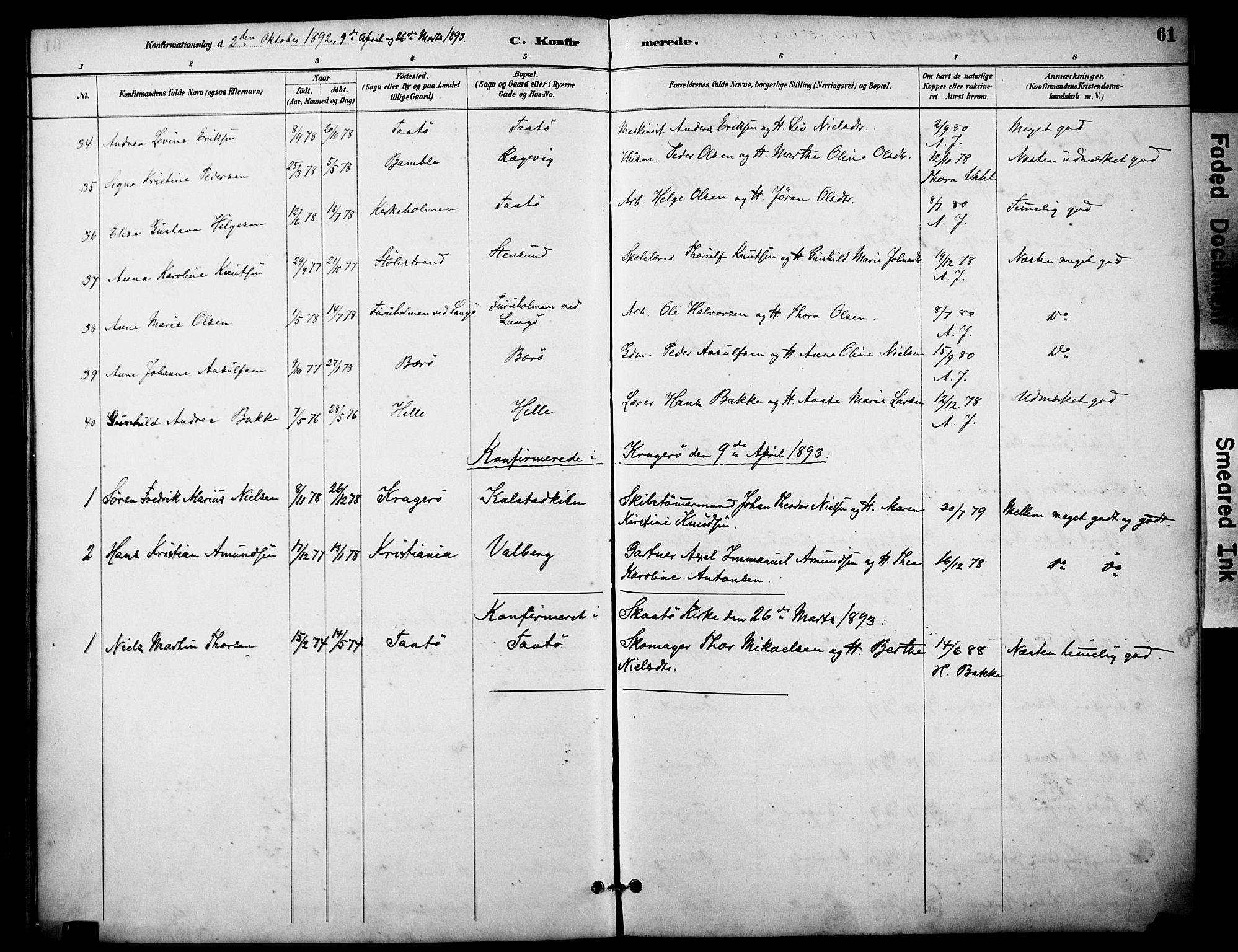 SAKO, Skåtøy kirkebøker, F/Fa/L0003: Ministerialbok nr. I 3, 1884-1899, s. 61