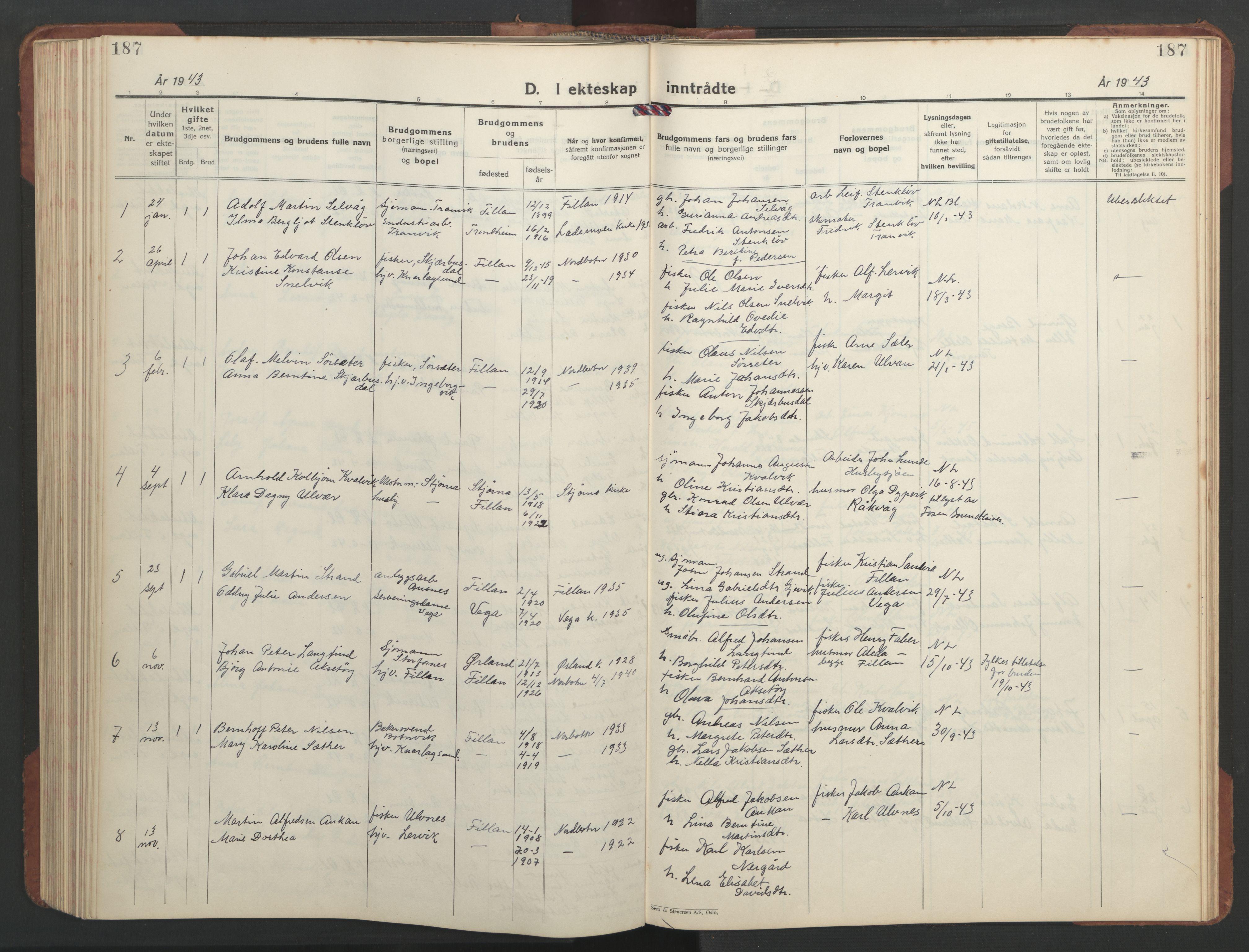 SAT, Ministerialprotokoller, klokkerbøker og fødselsregistre - Sør-Trøndelag, 637/L0564: Klokkerbok nr. 637C05, 1928-1968, s. 187