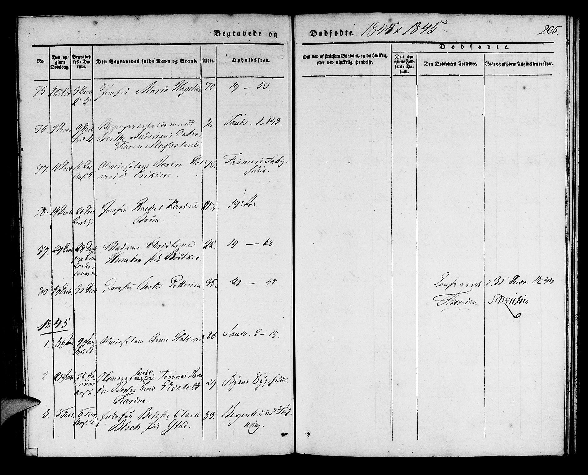SAB, Korskirken Sokneprestembete, H/Haa/L0043: Ministerialbok nr. E 1, 1834-1848, s. 205