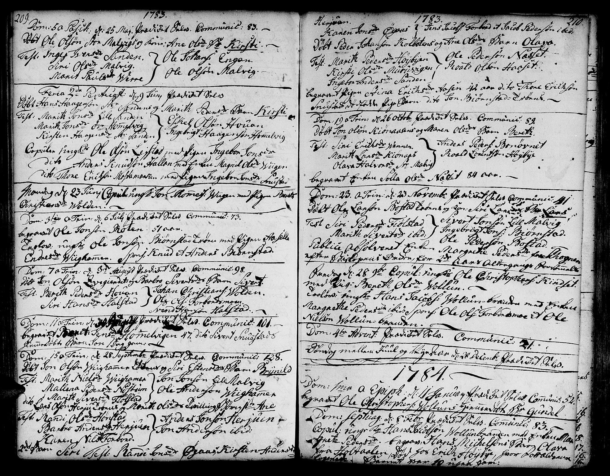 SAT, Ministerialprotokoller, klokkerbøker og fødselsregistre - Sør-Trøndelag, 606/L0281: Ministerialbok nr. 606A02 /2, 1781-1817, s. 209-210