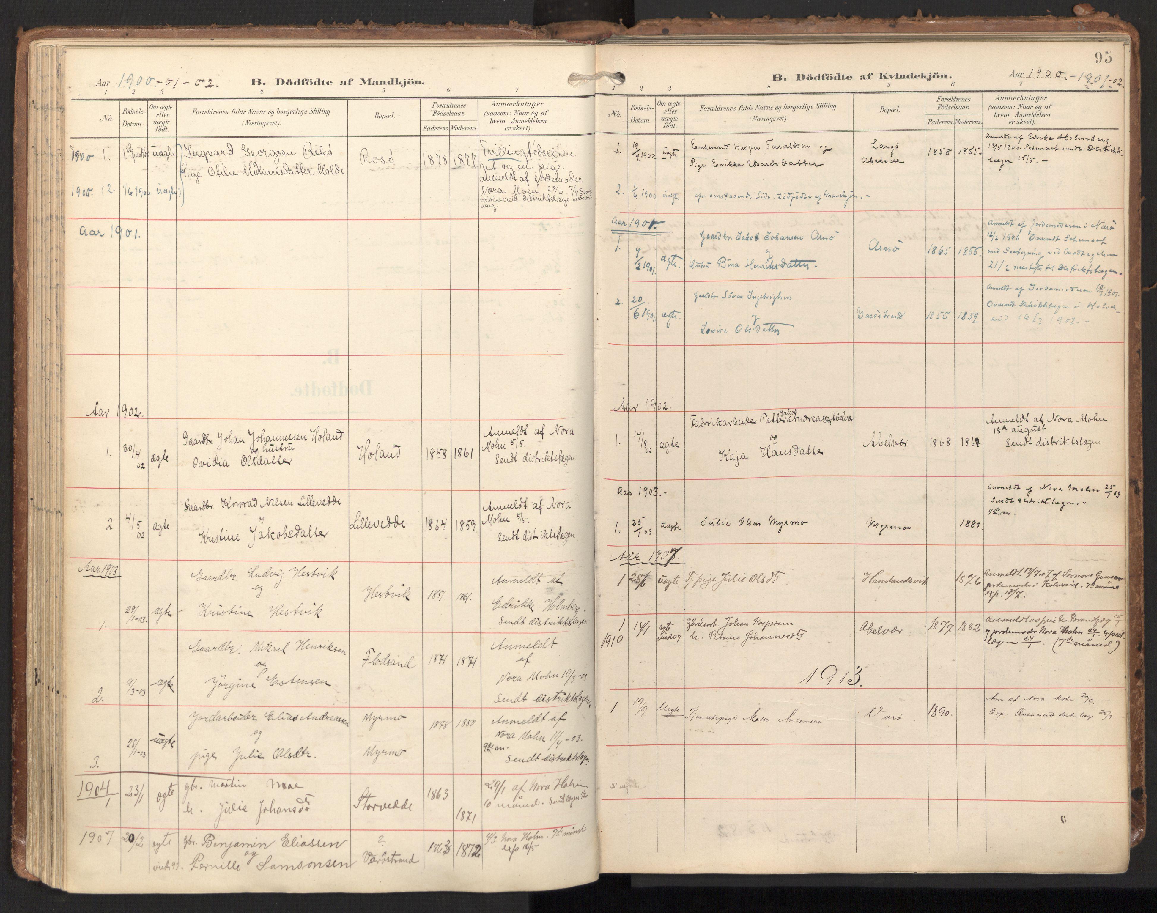 SAT, Ministerialprotokoller, klokkerbøker og fødselsregistre - Nord-Trøndelag, 784/L0677: Ministerialbok nr. 784A12, 1900-1920, s. 95