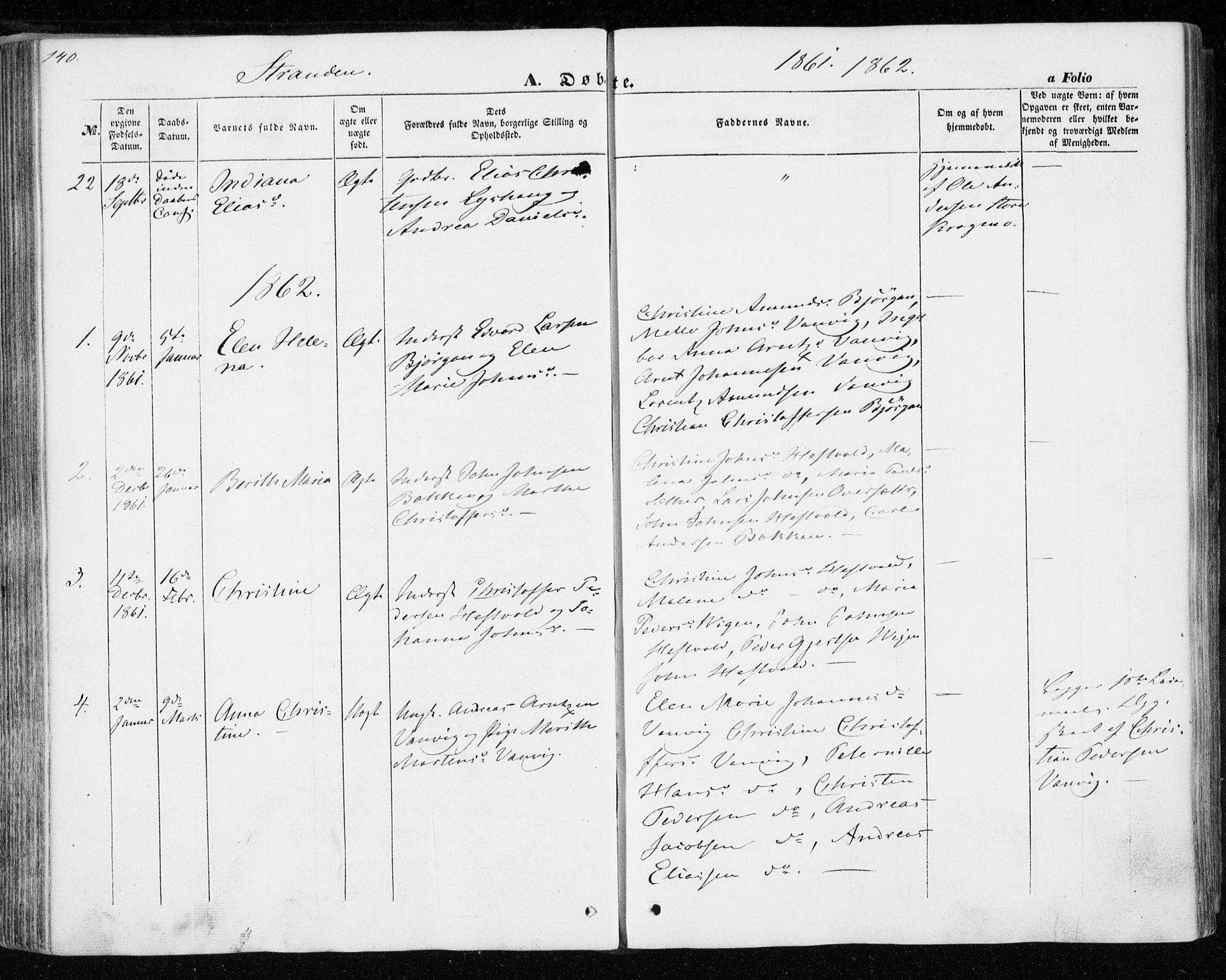 SAT, Ministerialprotokoller, klokkerbøker og fødselsregistre - Nord-Trøndelag, 701/L0008: Ministerialbok nr. 701A08 /2, 1854-1863, s. 140