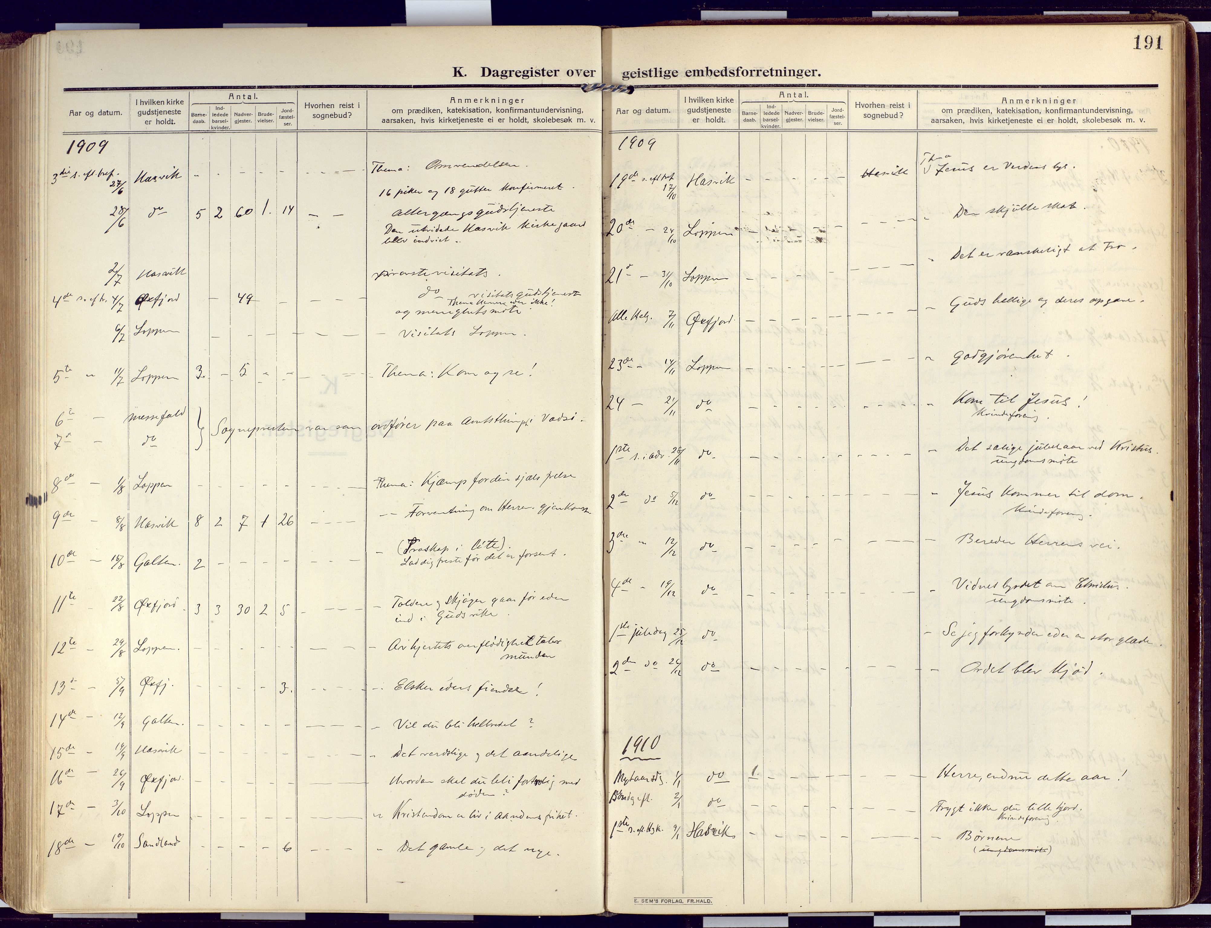 SATØ, Loppa sokneprestkontor, H/Ha/L0011kirke: Ministerialbok nr. 11, 1909-1919, s. 191