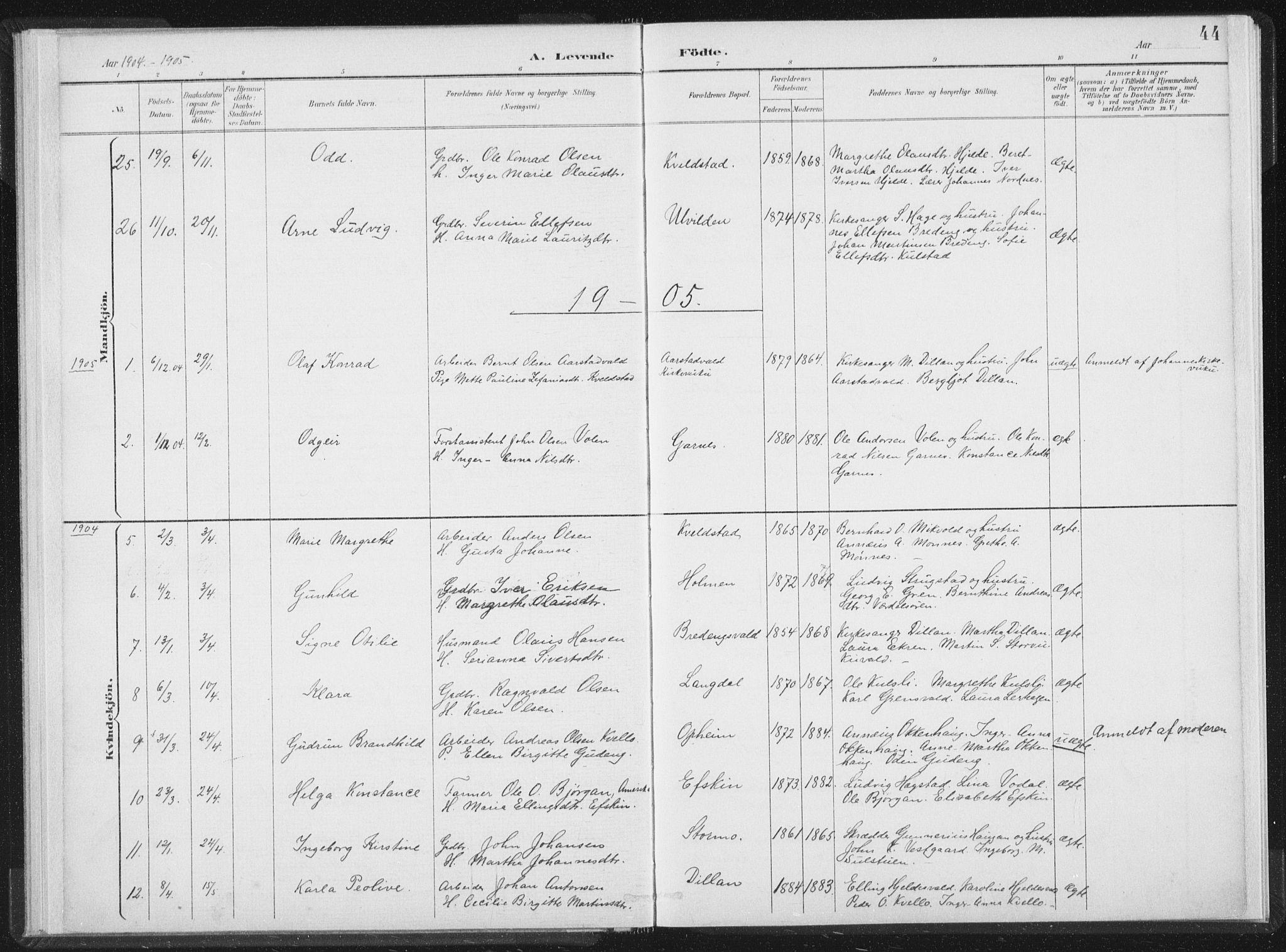 SAT, Ministerialprotokoller, klokkerbøker og fødselsregistre - Nord-Trøndelag, 724/L0263: Ministerialbok nr. 724A01, 1891-1907, s. 44