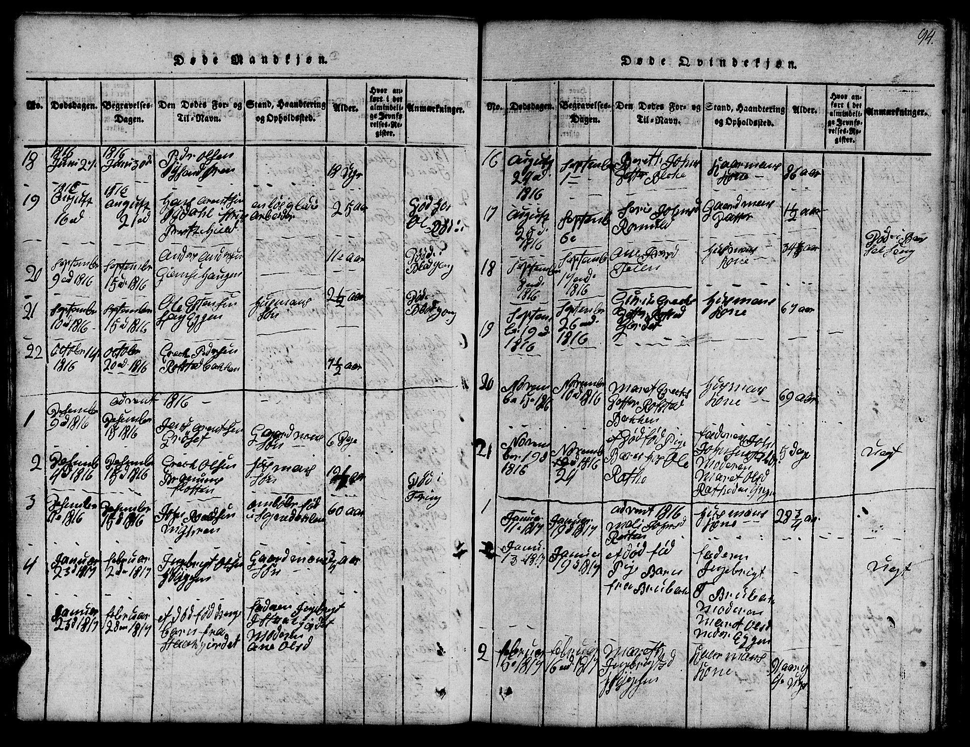 SAT, Ministerialprotokoller, klokkerbøker og fødselsregistre - Sør-Trøndelag, 691/L1092: Klokkerbok nr. 691C03, 1816-1852, s. 94