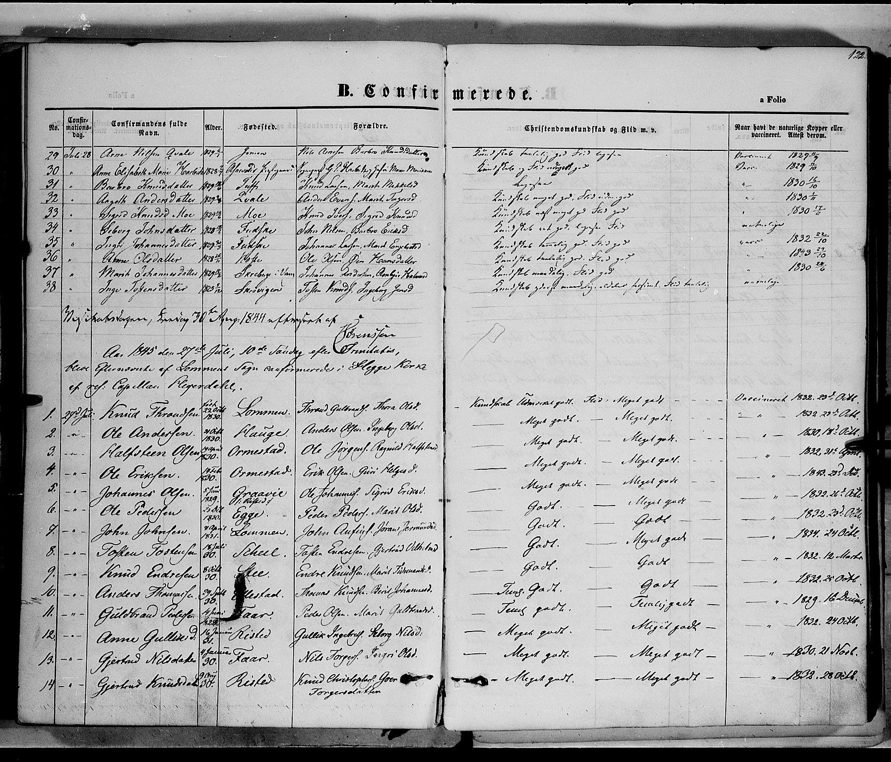 SAH, Vestre Slidre prestekontor, Ministerialbok nr. 1, 1844-1855, s. 122