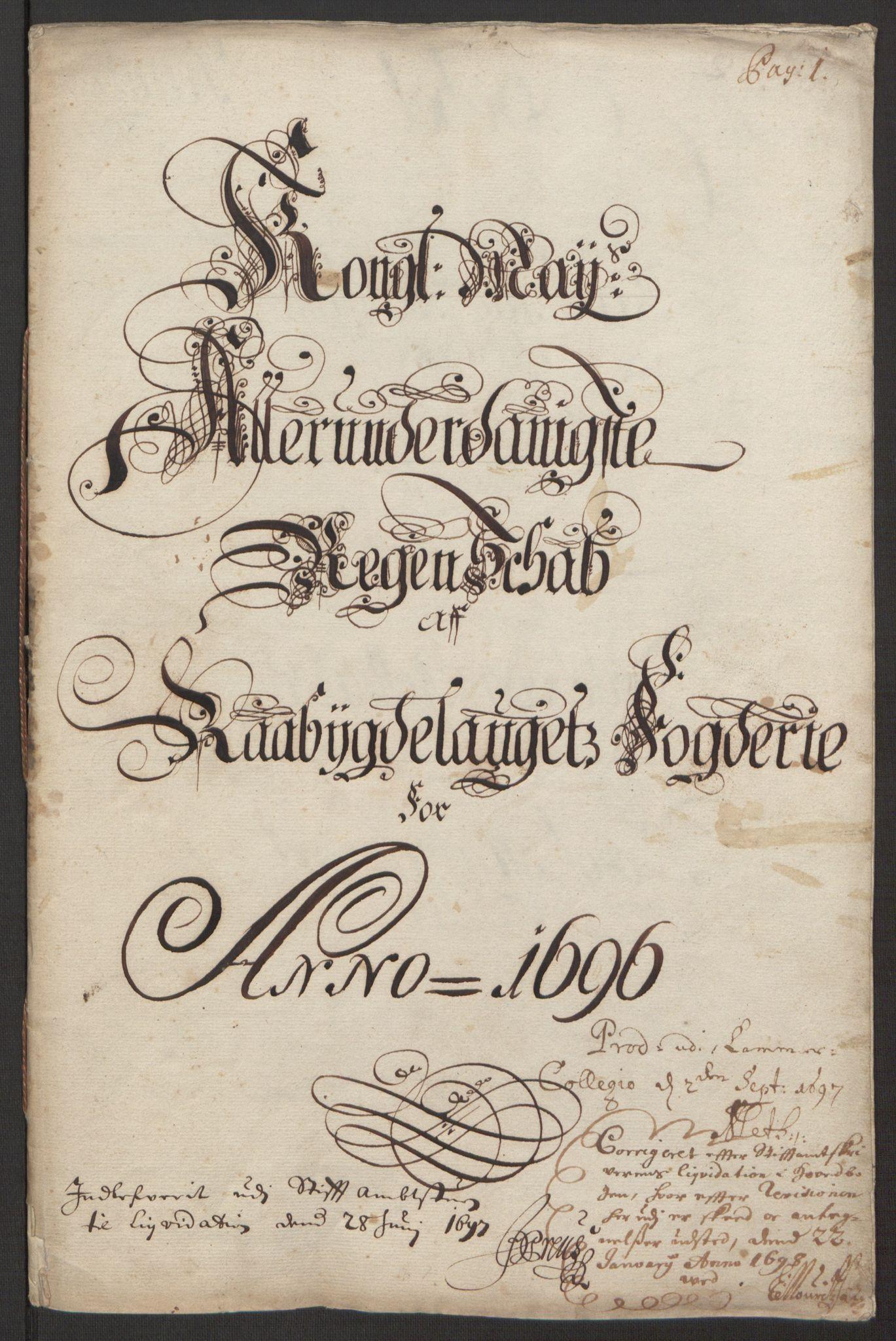 RA, Rentekammeret inntil 1814, Reviderte regnskaper, Fogderegnskap, R40/L2444: Fogderegnskap Råbyggelag, 1693-1696, s. 296