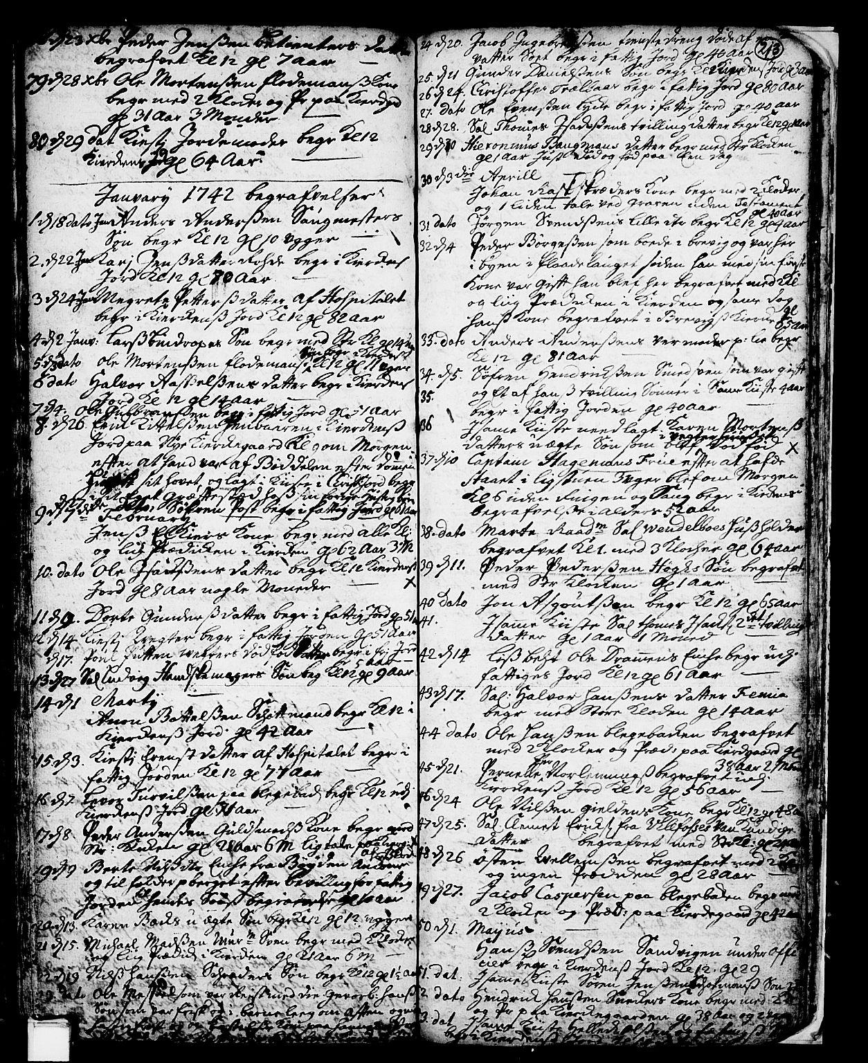 SAKO, Skien kirkebøker, F/Fa/L0002: Ministerialbok nr. 2, 1716-1757, s. 213