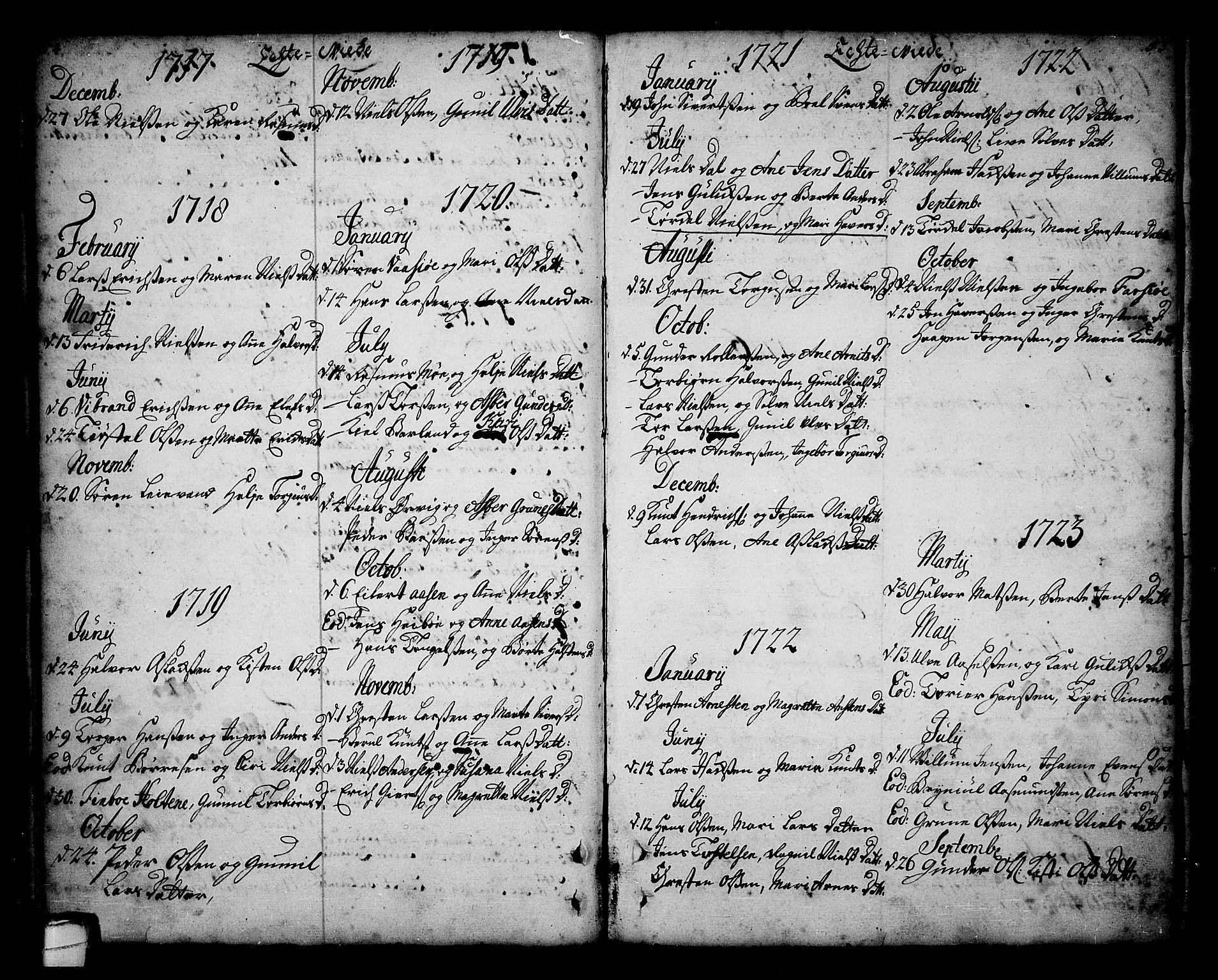 SAKO, Sannidal kirkebøker, F/Fa/L0001: Ministerialbok nr. 1, 1702-1766, s. 54-55