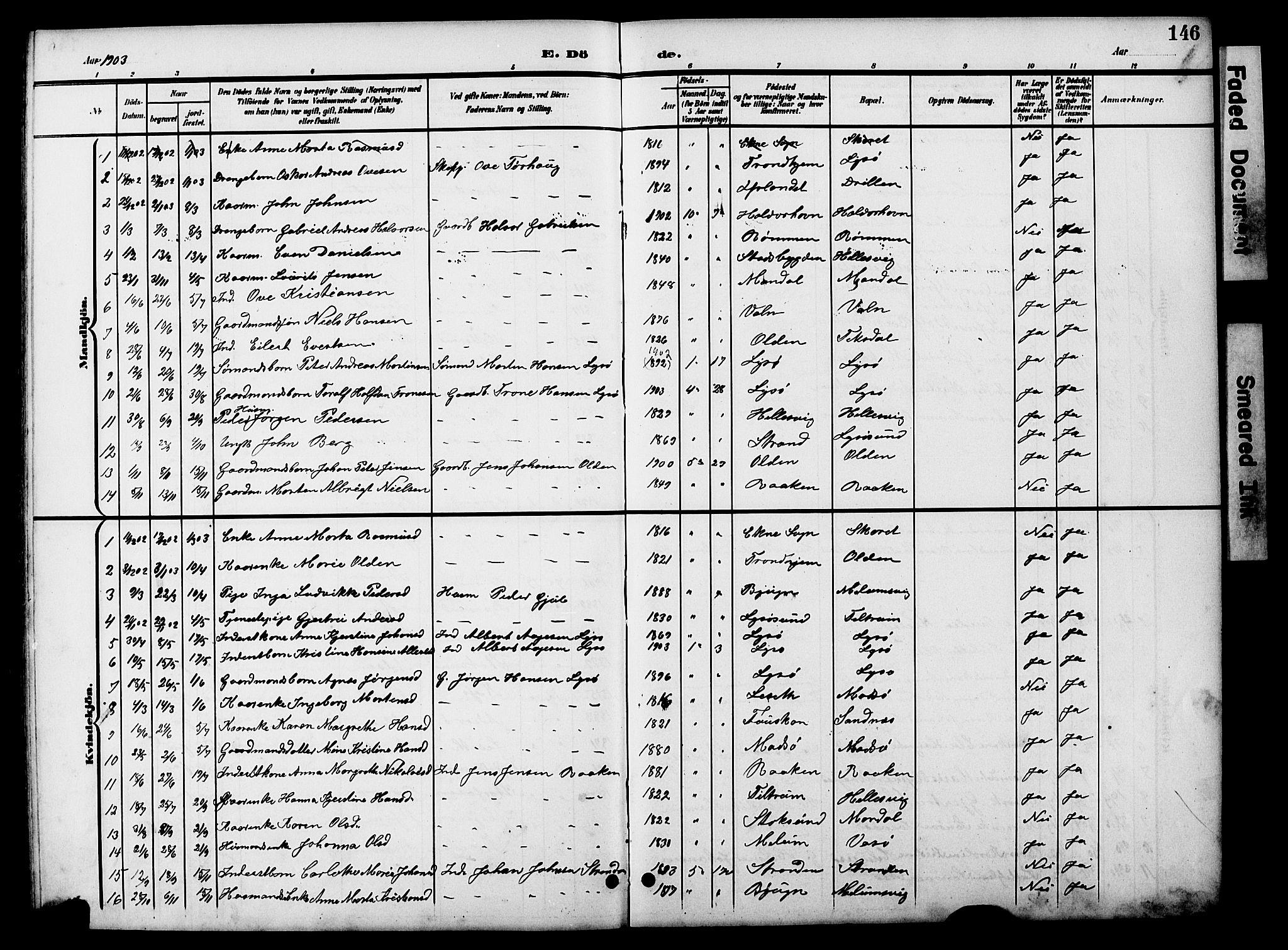 SAT, Ministerialprotokoller, klokkerbøker og fødselsregistre - Sør-Trøndelag, 654/L0666: Klokkerbok nr. 654C02, 1901-1925, s. 146