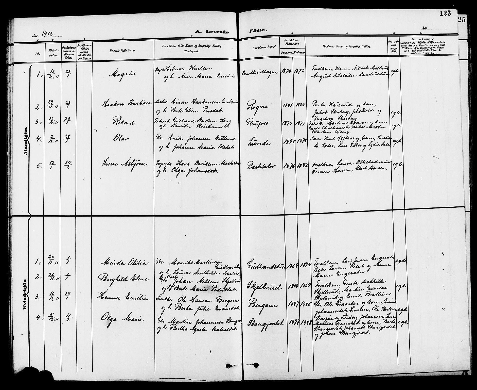 SAH, Vestre Toten prestekontor, H/Ha/Hab/L0010: Klokkerbok nr. 10, 1900-1912, s. 123