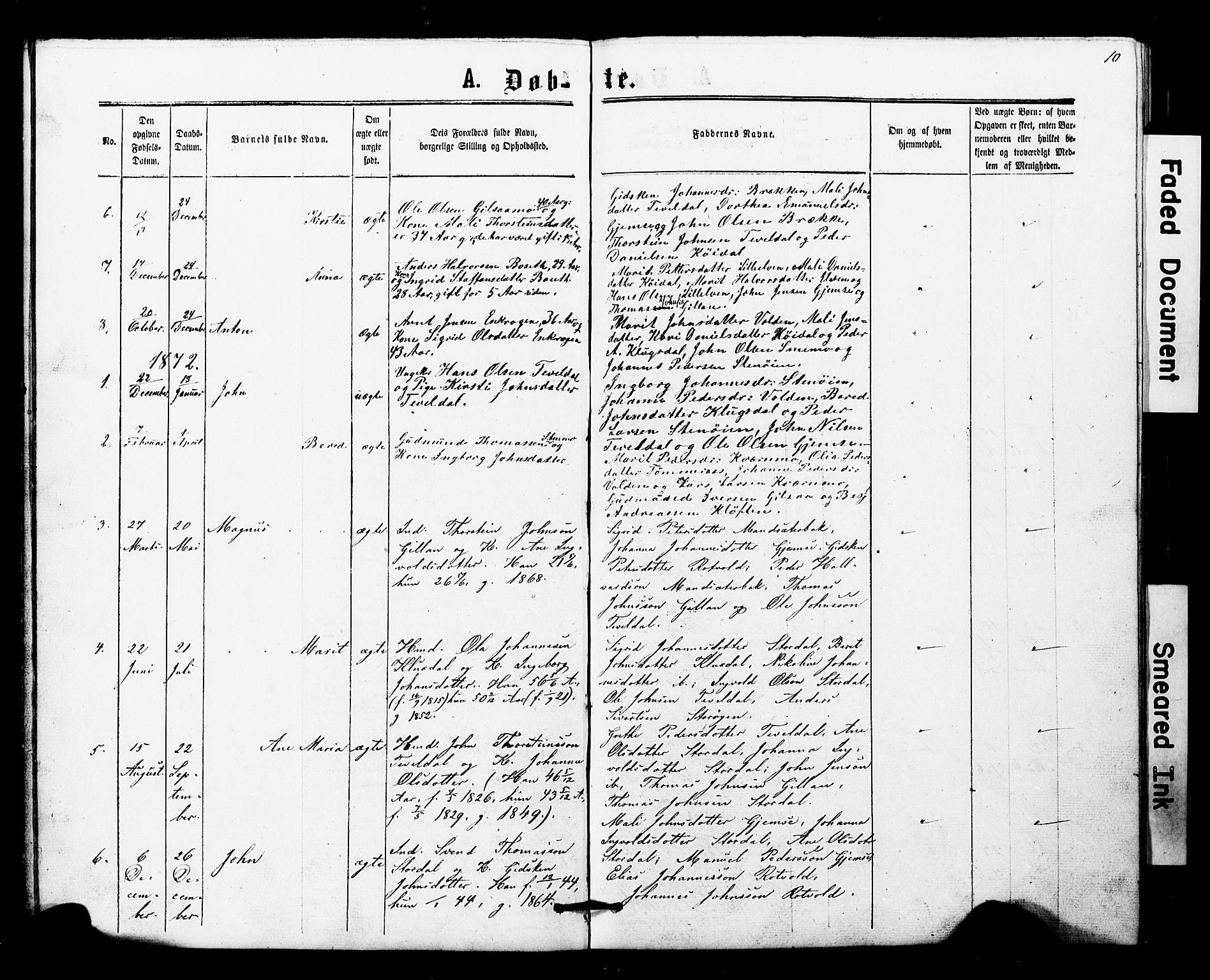 SAT, Ministerialprotokoller, klokkerbøker og fødselsregistre - Nord-Trøndelag, 707/L0052: Klokkerbok nr. 707C01, 1864-1897, s. 10