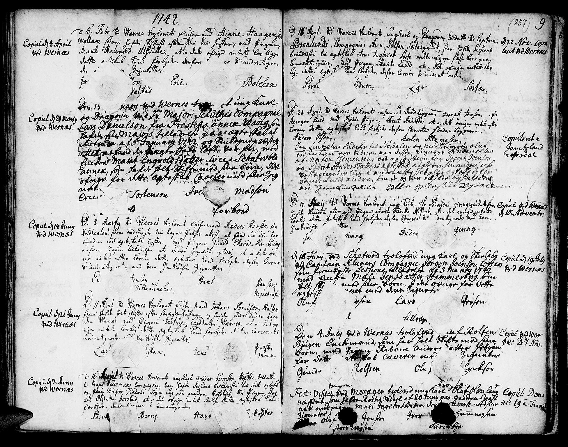 SAT, Ministerialprotokoller, klokkerbøker og fødselsregistre - Nord-Trøndelag, 709/L0056: Ministerialbok nr. 709A04, 1740-1756, s. 257