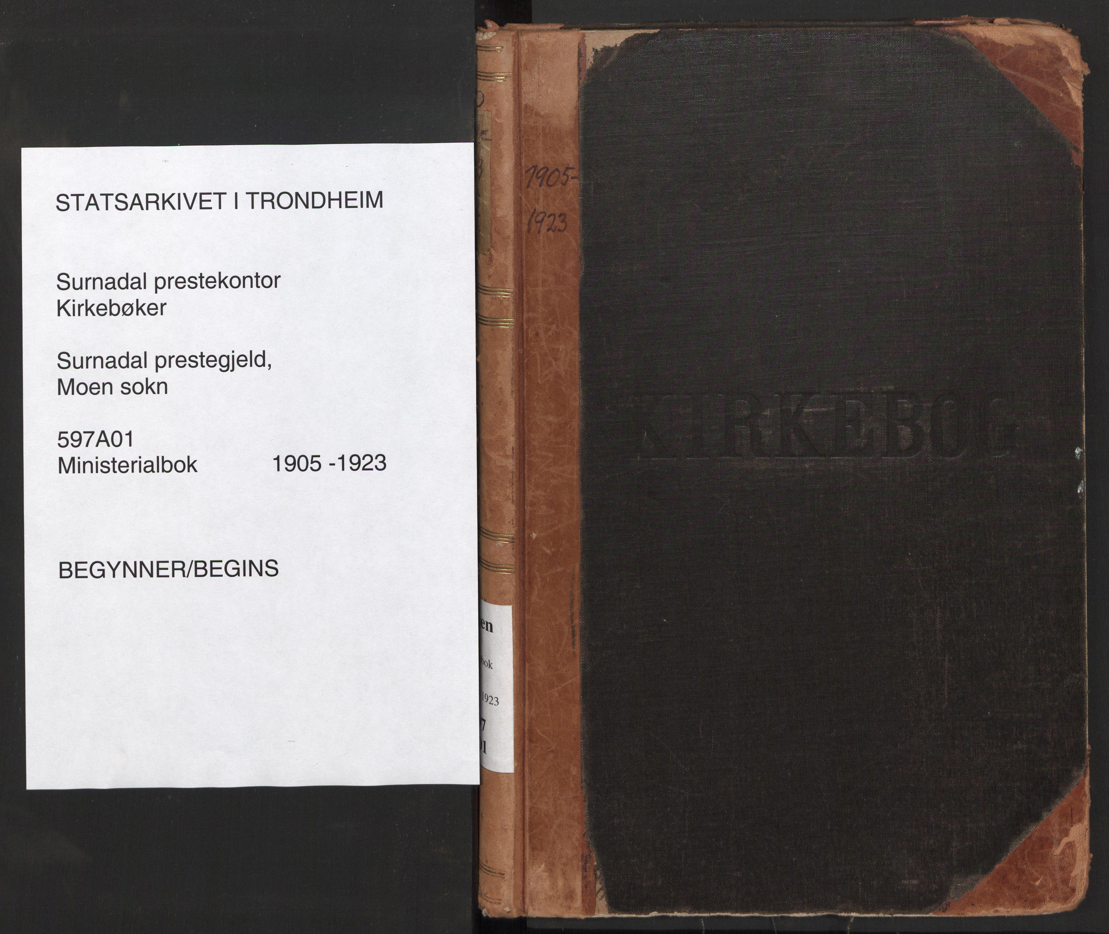 SAT, Ministerialprotokoller, klokkerbøker og fødselsregistre - Møre og Romsdal, 597/L1063: Ministerialbok nr. 597A02, 1905-1923