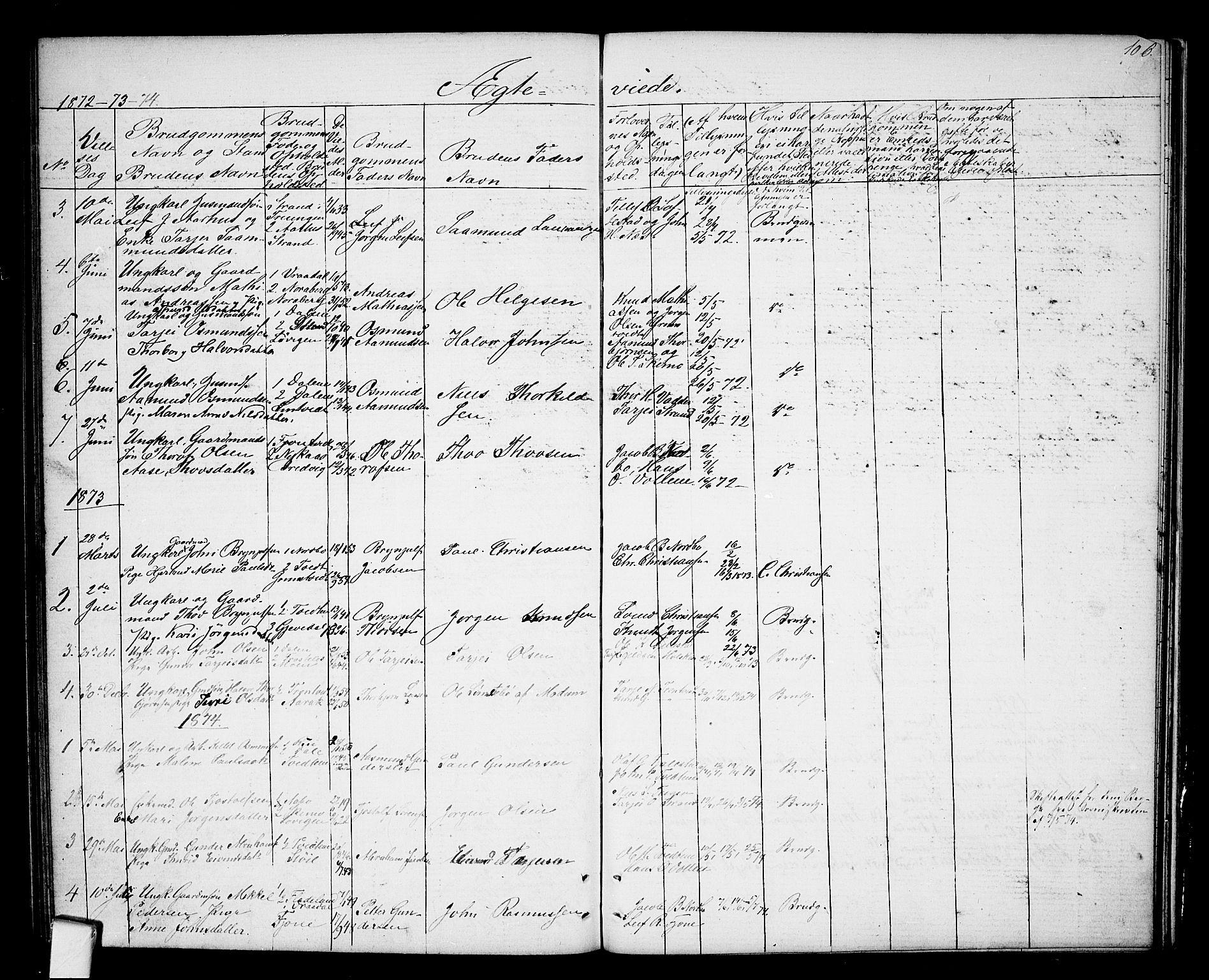 SAKO, Nissedal kirkebøker, G/Ga/L0002: Klokkerbok nr. I 2, 1861-1887, s. 106