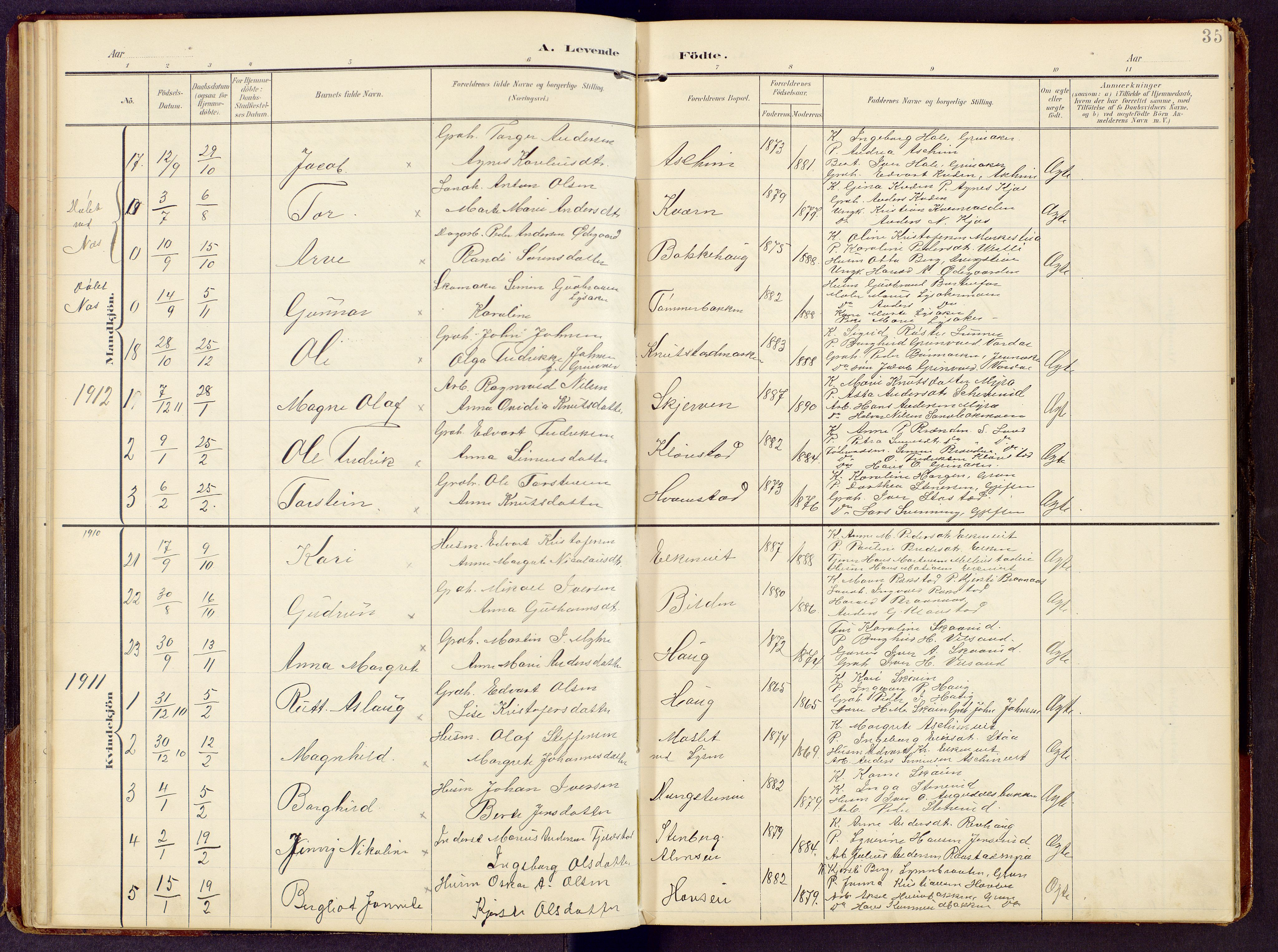 SAH, Brandbu prestekontor, Klokkerbok nr. 9, 1903-1916, s. 35