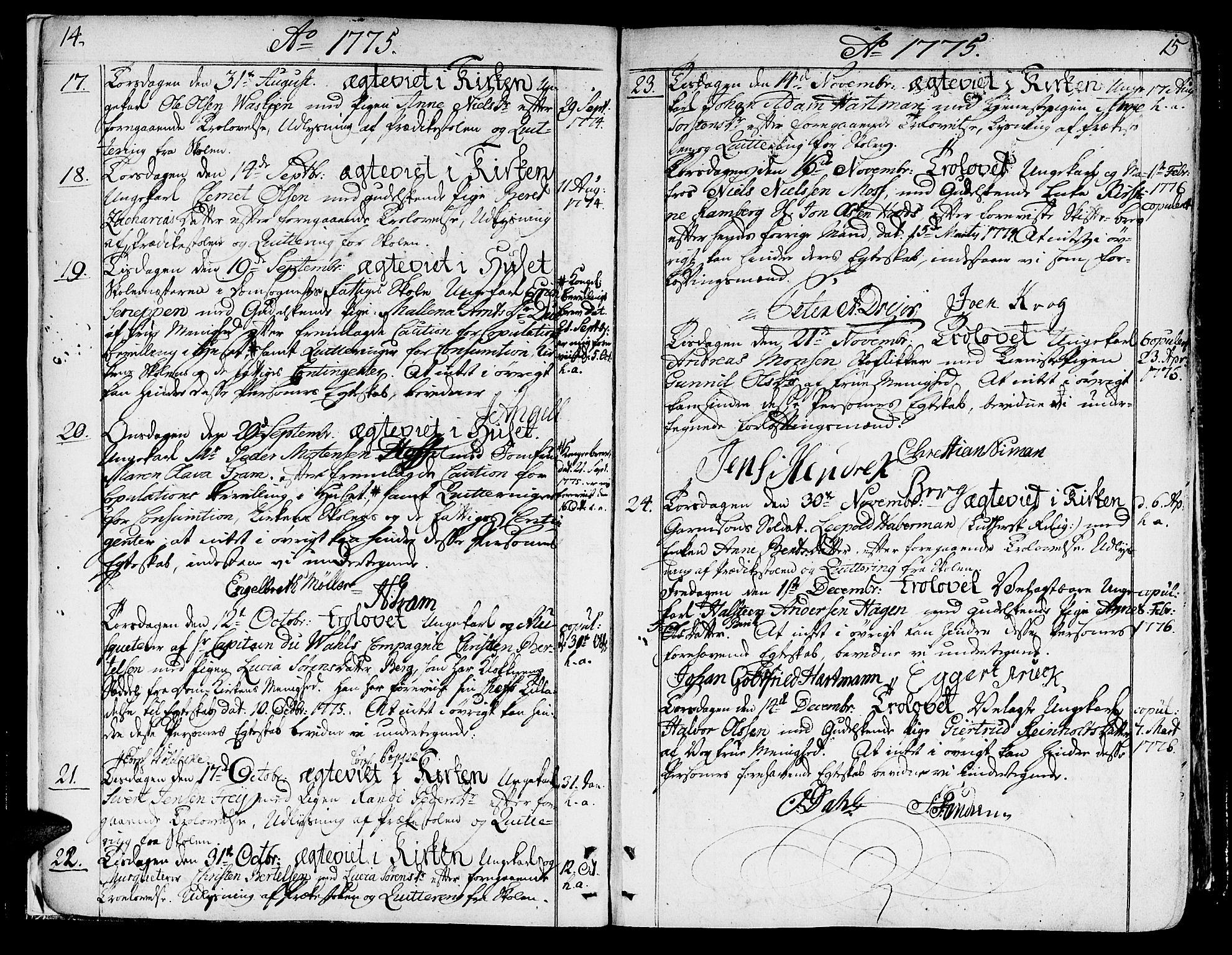 SAT, Ministerialprotokoller, klokkerbøker og fødselsregistre - Sør-Trøndelag, 602/L0105: Ministerialbok nr. 602A03, 1774-1814, s. 14-15
