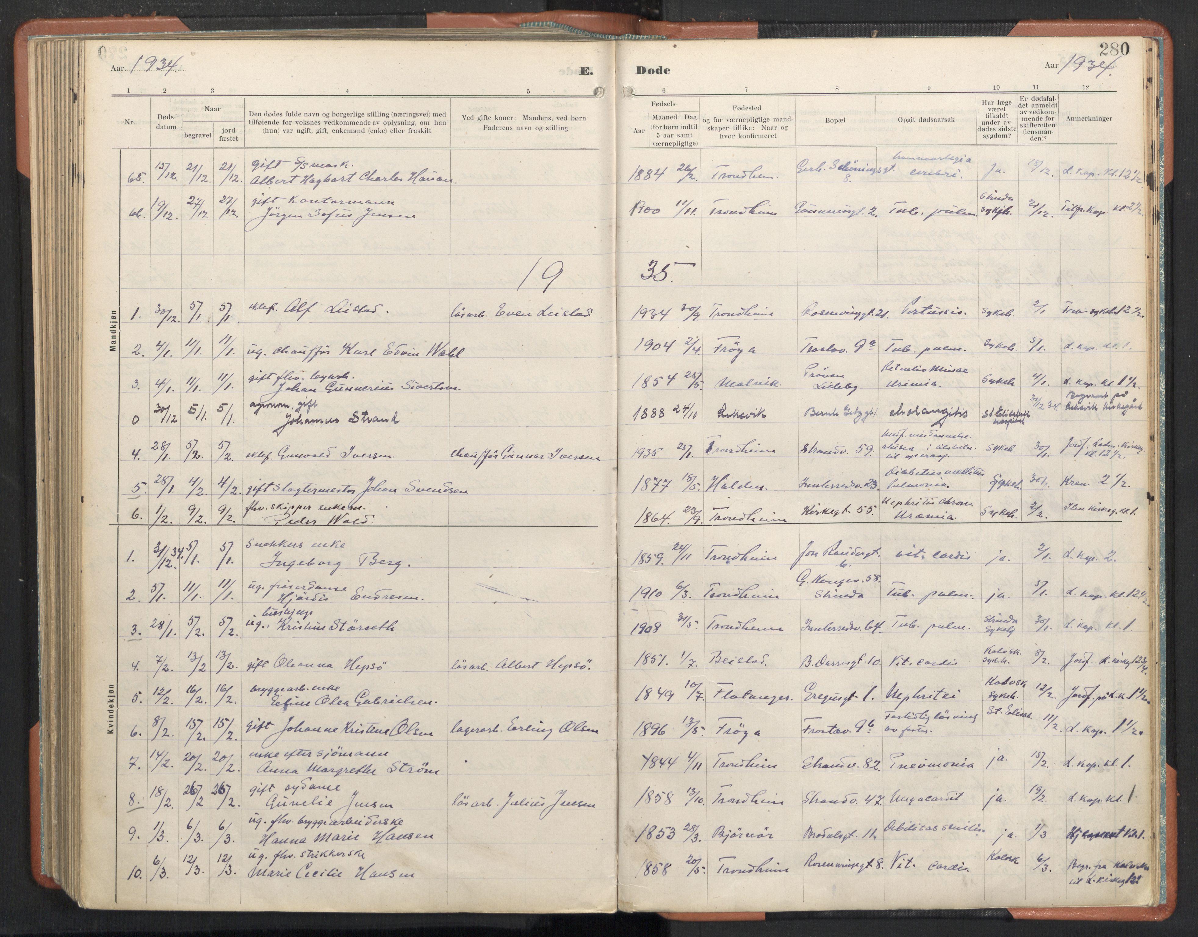 SAT, Ministerialprotokoller, klokkerbøker og fødselsregistre - Sør-Trøndelag, 605/L0245: Ministerialbok nr. 605A07, 1916-1938, s. 280