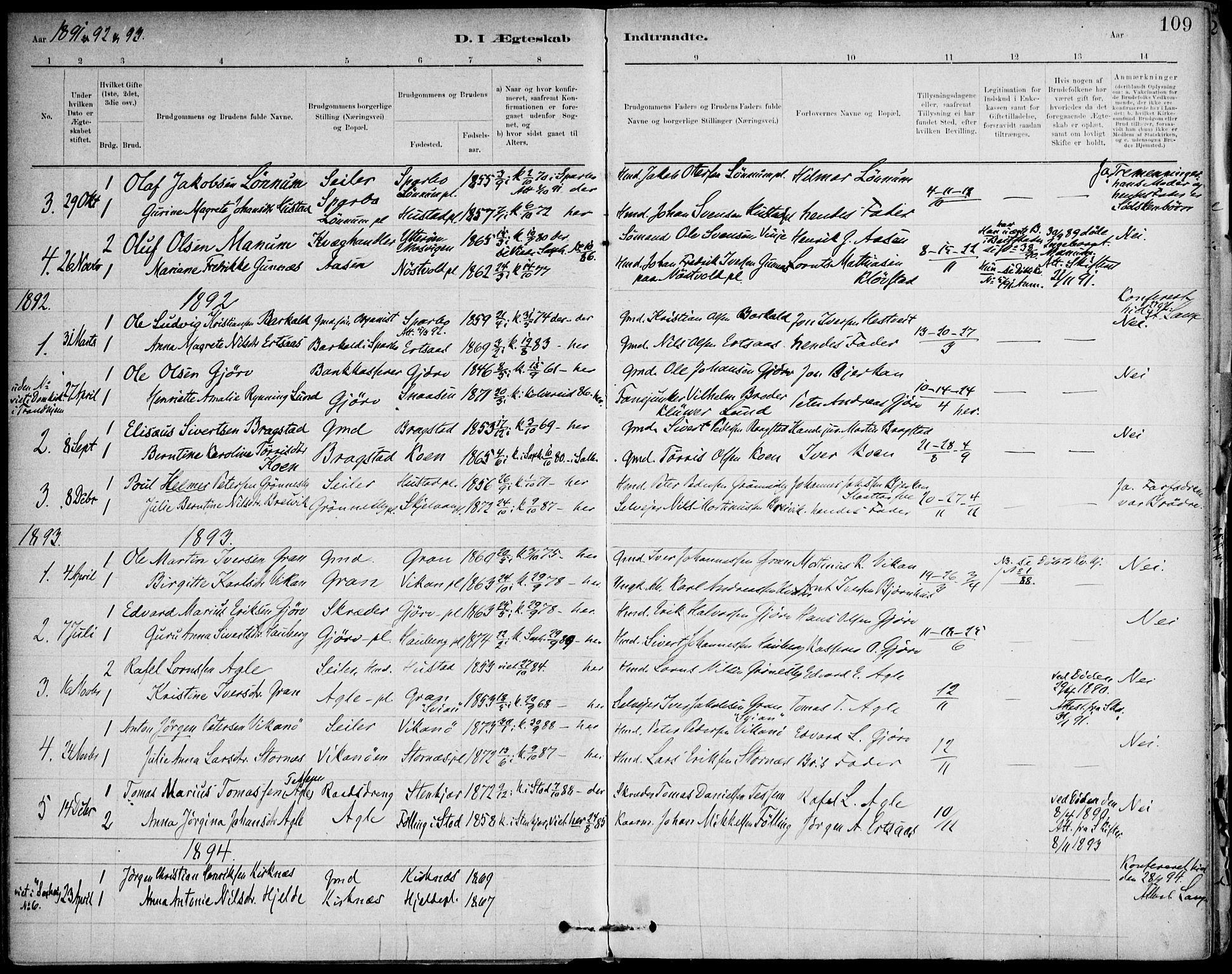 SAT, Ministerialprotokoller, klokkerbøker og fødselsregistre - Nord-Trøndelag, 732/L0316: Ministerialbok nr. 732A01, 1879-1921, s. 109