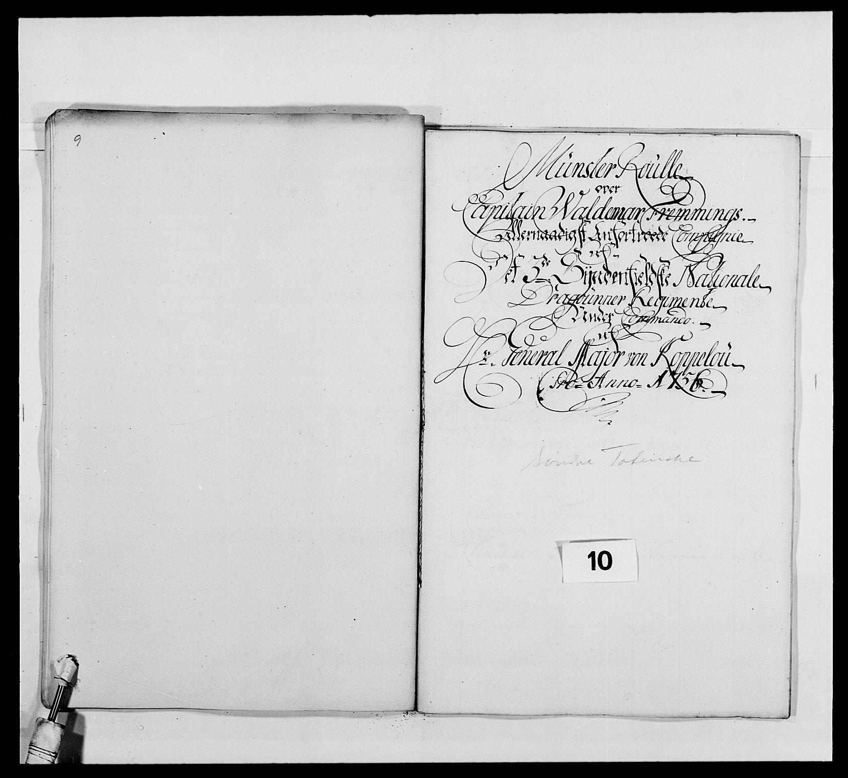 RA, Kommanderende general (KG I) med Det norske krigsdirektorium, E/Ea/L0479: 3. Sønnafjelske dragonregiment, 1756-1760, s. 182