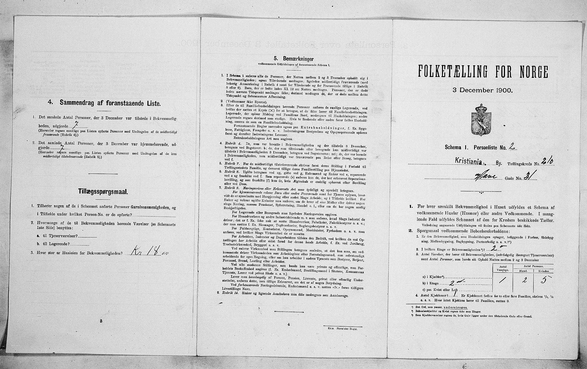 SAO, Folketelling 1900 for 0301 Kristiania kjøpstad, 1900, s. 33890