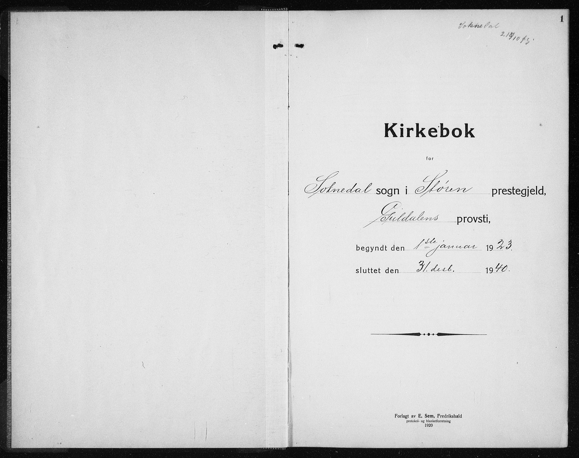 SAT, Ministerialprotokoller, klokkerbøker og fødselsregistre - Sør-Trøndelag, 689/L1045: Klokkerbok nr. 689C04, 1923-1940, s. 1