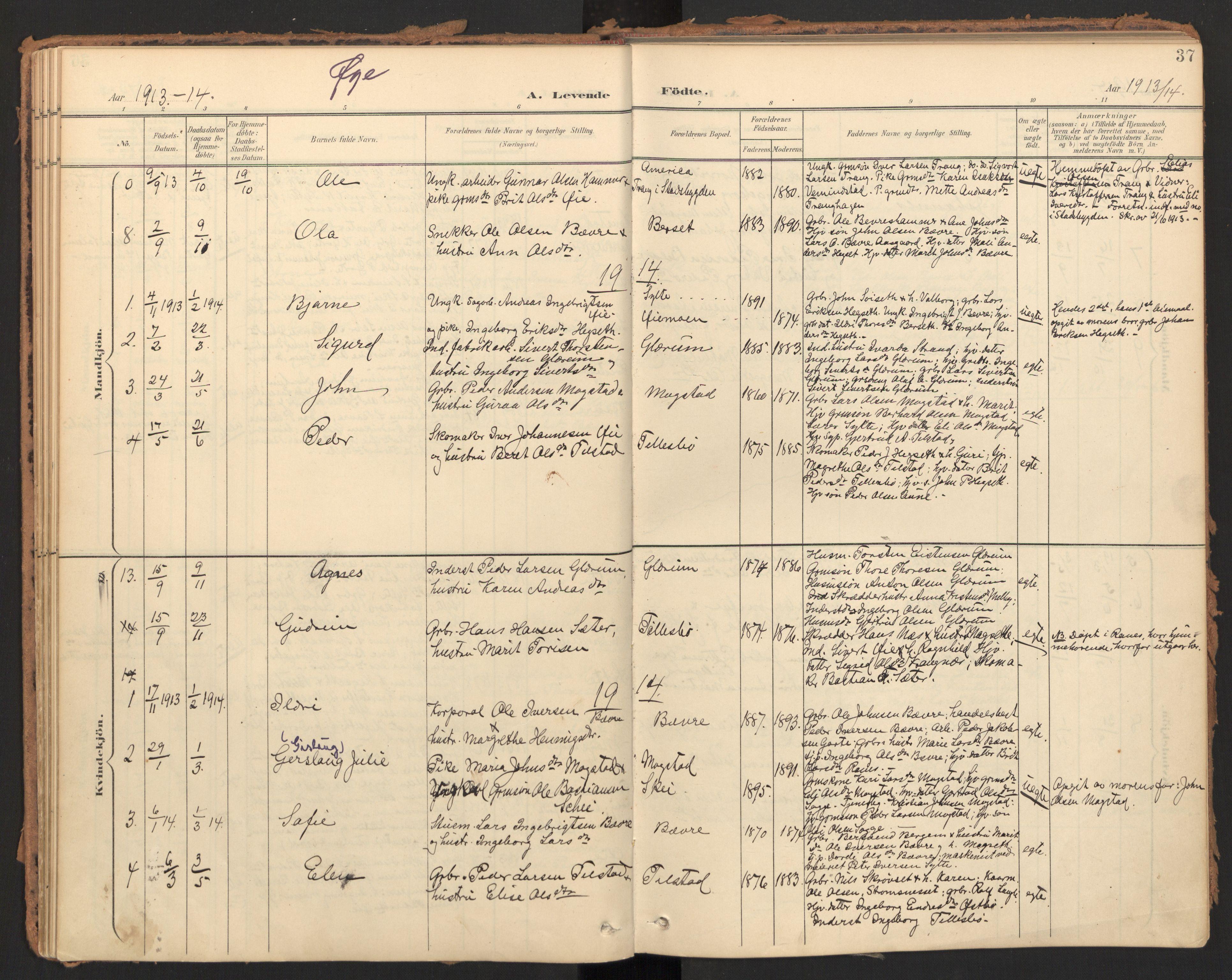 SAT, Ministerialprotokoller, klokkerbøker og fødselsregistre - Møre og Romsdal, 595/L1048: Ministerialbok nr. 595A10, 1900-1917, s. 37