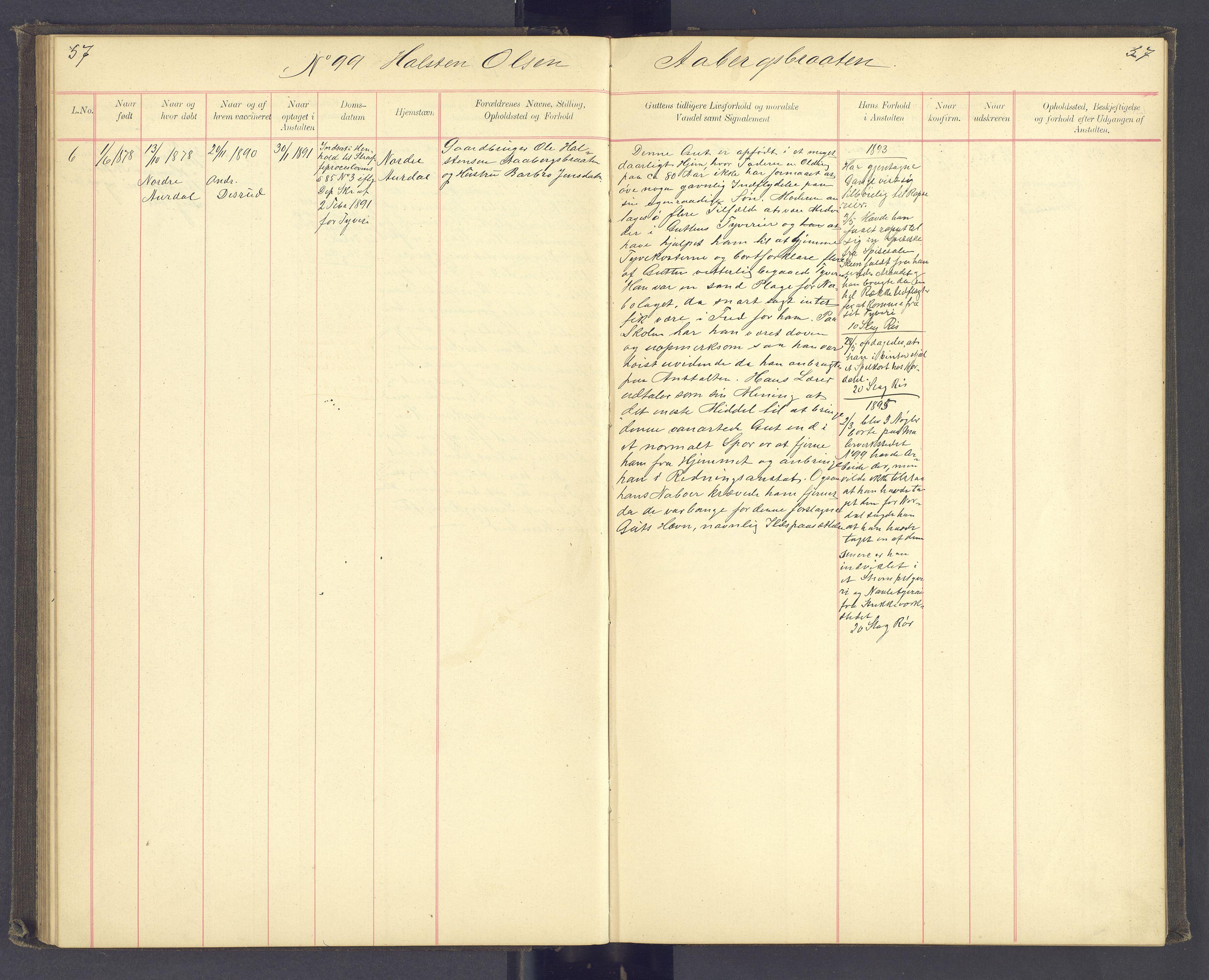 SAH, Toftes Gave, F/Fc/L0003: Elevprotokoll, 1886-1897, s. 57