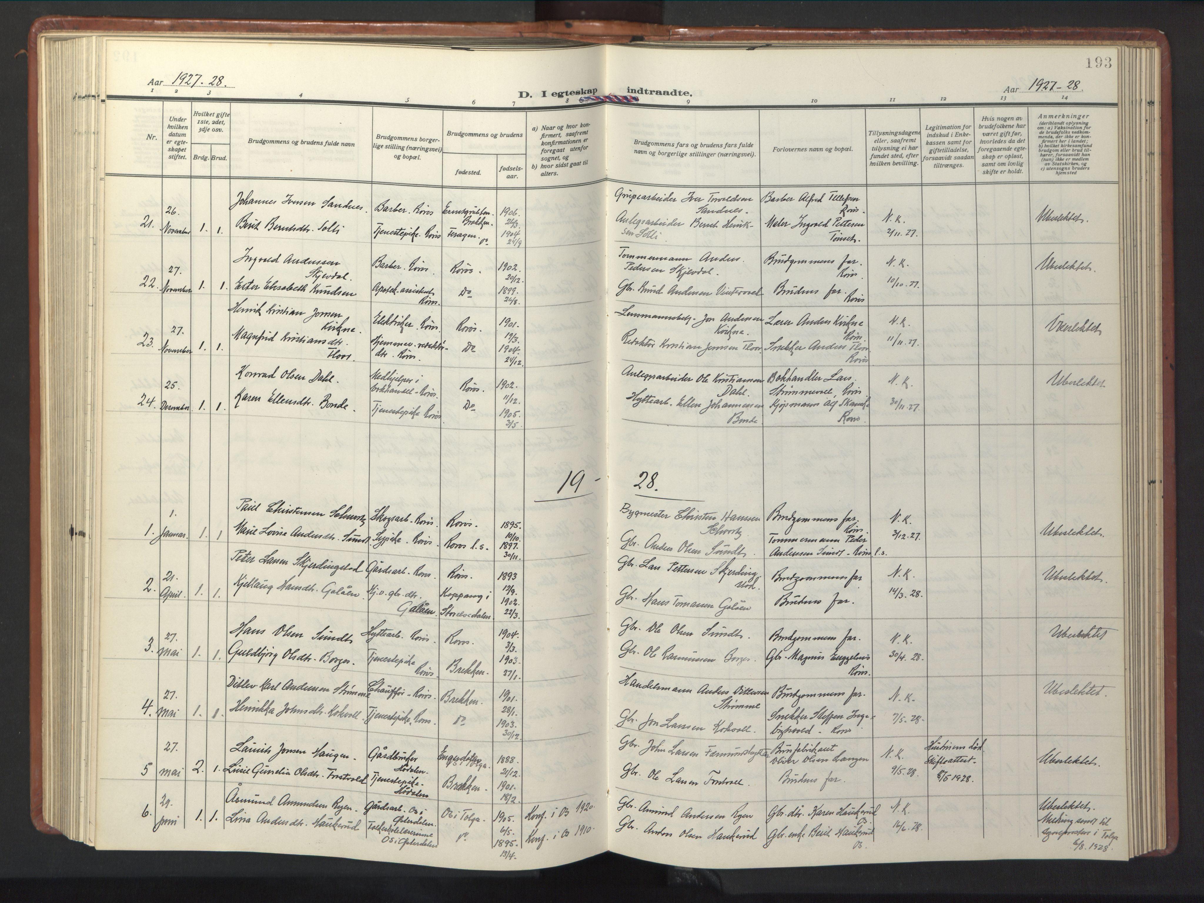 SAT, Ministerialprotokoller, klokkerbøker og fødselsregistre - Sør-Trøndelag, 681/L0943: Klokkerbok nr. 681C07, 1926-1954, s. 193