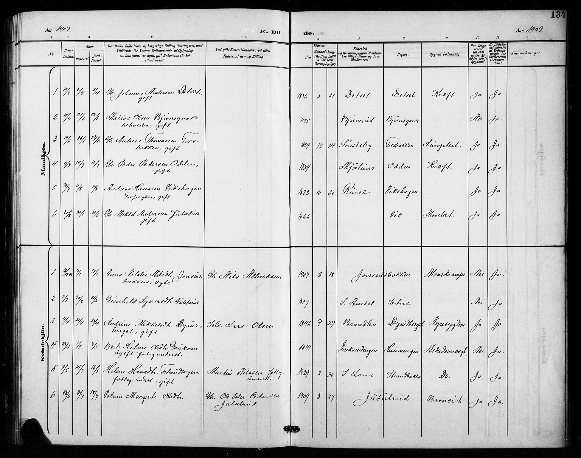 SAH, Vestre Toten prestekontor, Klokkerbok nr. 16, 1901-1915, s. 134