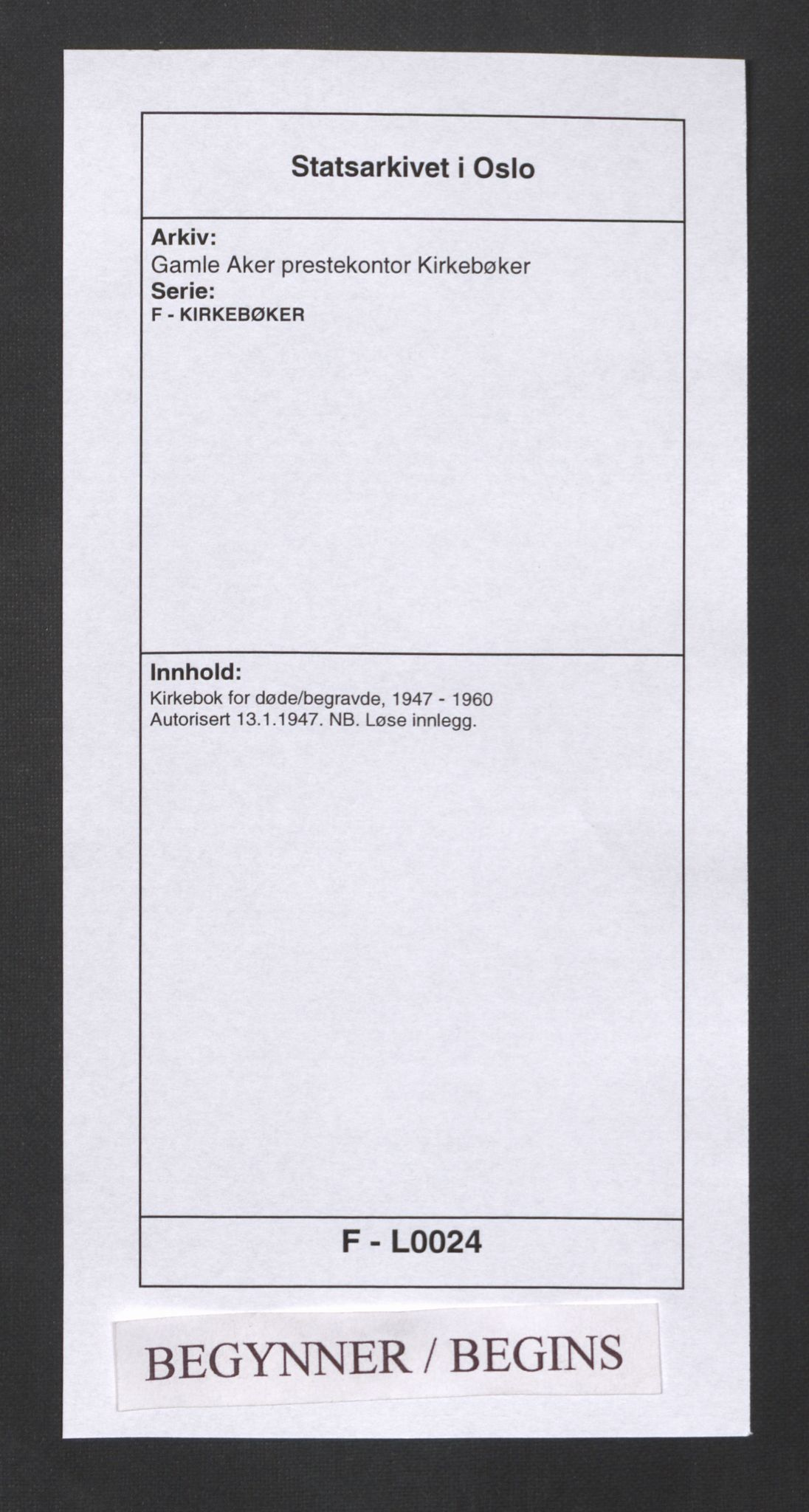 SAO, Gamle Aker prestekontor Kirkebøker, F/L0024: Ministerialbok nr. 24, 1947-1960
