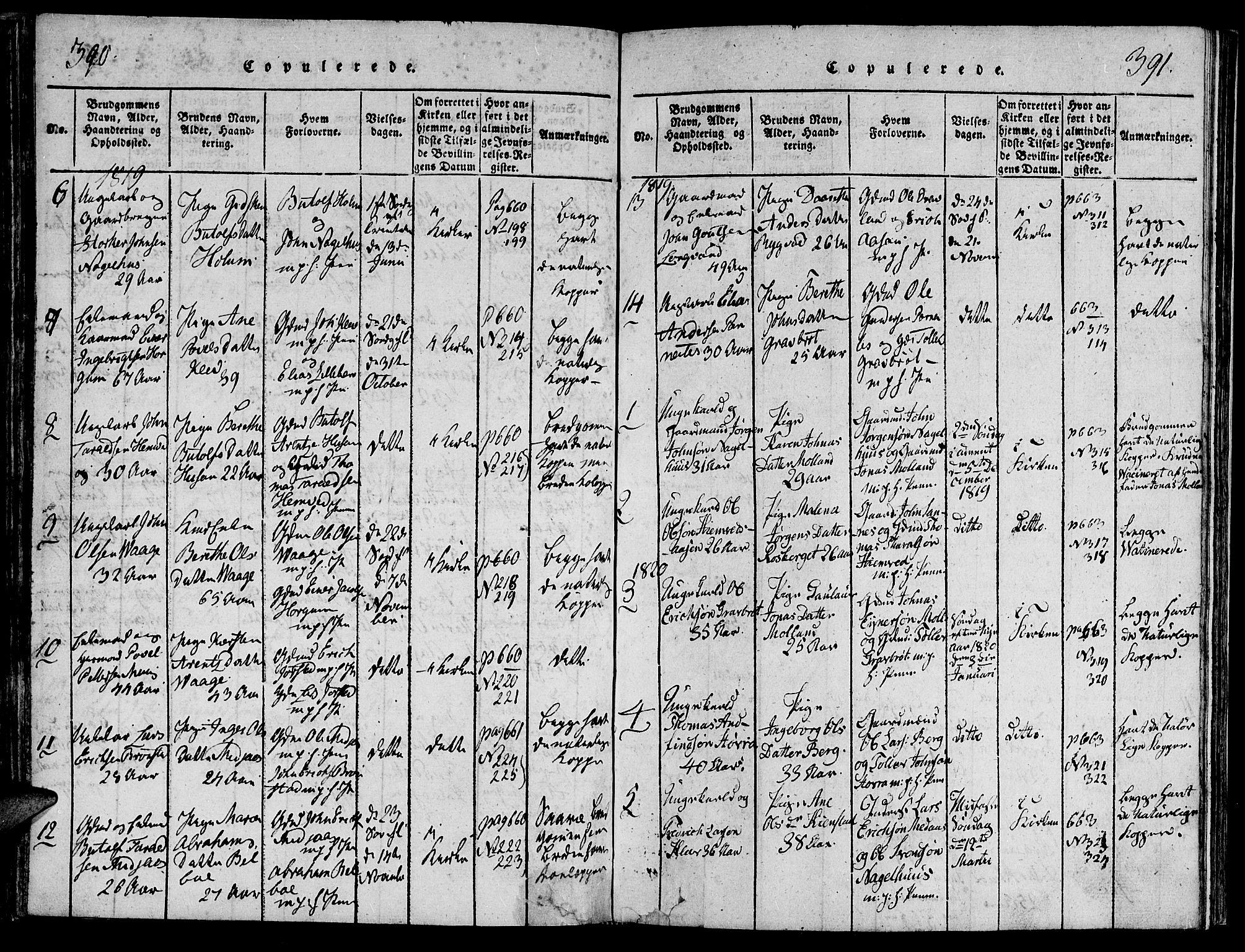 SAT, Ministerialprotokoller, klokkerbøker og fødselsregistre - Nord-Trøndelag, 749/L0479: Klokkerbok nr. 749C01, 1817-1829, s. 390-391