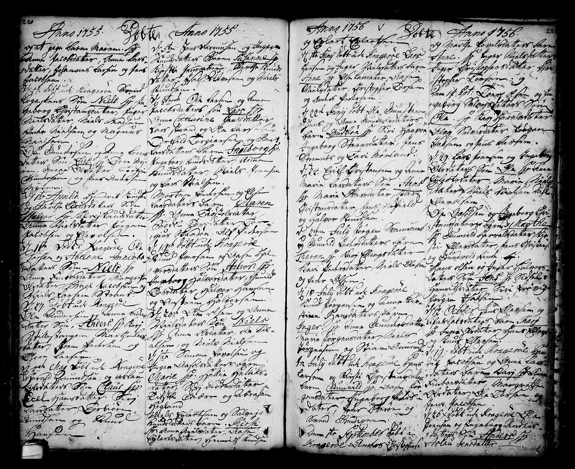 SAKO, Sannidal kirkebøker, F/Fa/L0001: Ministerialbok nr. 1, 1702-1766, s. 220-221