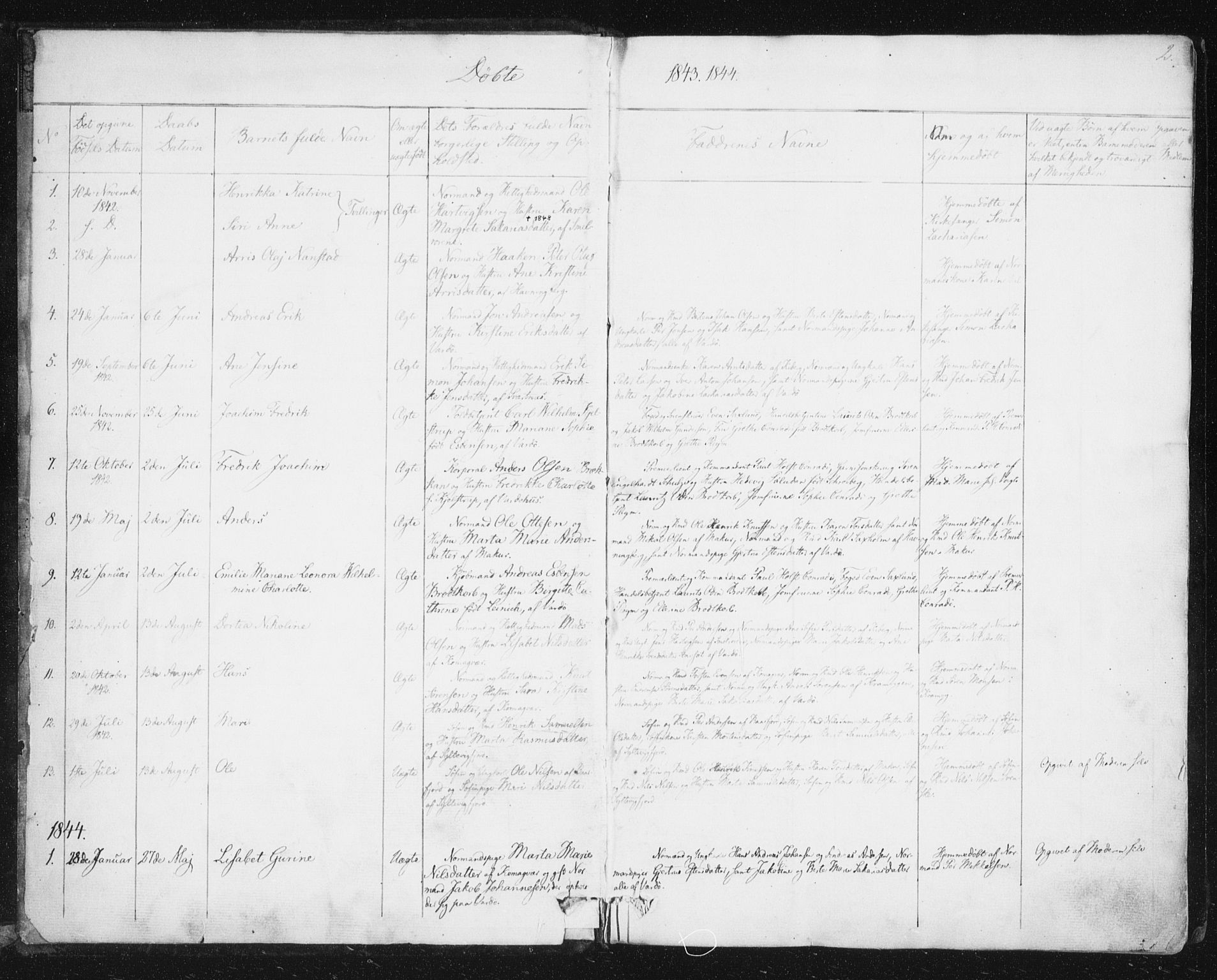 SATØ, Vardø sokneprestkontor, H/Ha/L0003kirke: Ministerialbok nr. 3, 1843-1861, s. 2