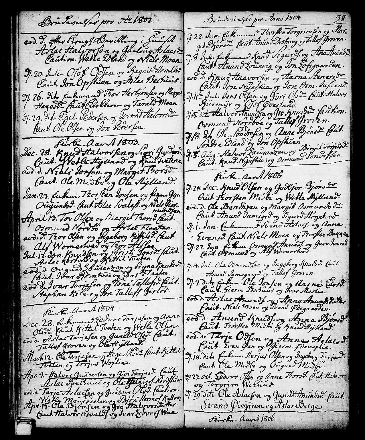 SAKO, Vinje kirkebøker, F/Fa/L0002: Ministerialbok nr. I 2, 1767-1814, s. 38
