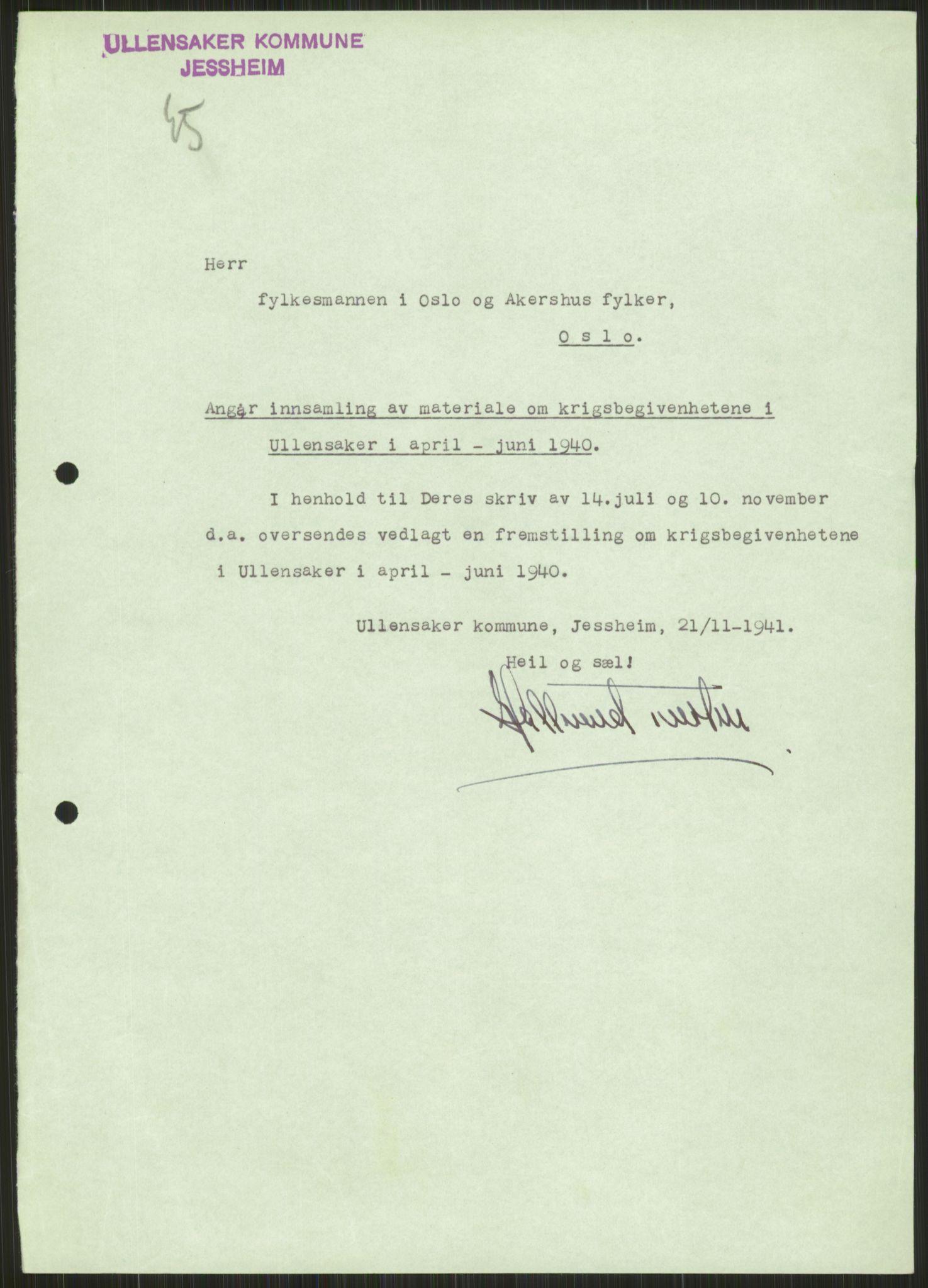 RA, Forsvaret, Forsvarets krigshistoriske avdeling, Y/Ya/L0013: II-C-11-31 - Fylkesmenn.  Rapporter om krigsbegivenhetene 1940., 1940, s. 837