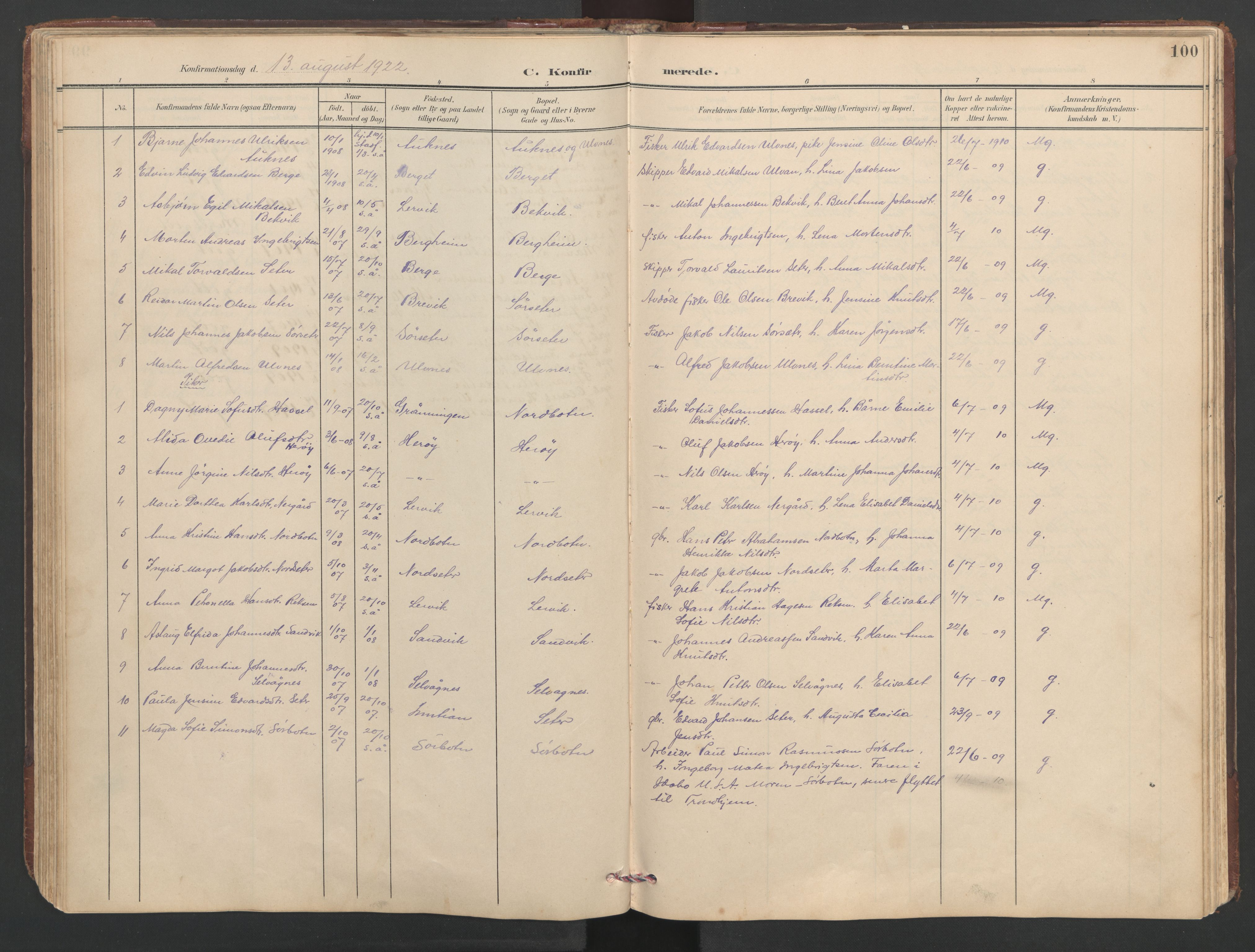 SAT, Ministerialprotokoller, klokkerbøker og fødselsregistre - Sør-Trøndelag, 638/L0571: Klokkerbok nr. 638C03, 1901-1930, s. 100