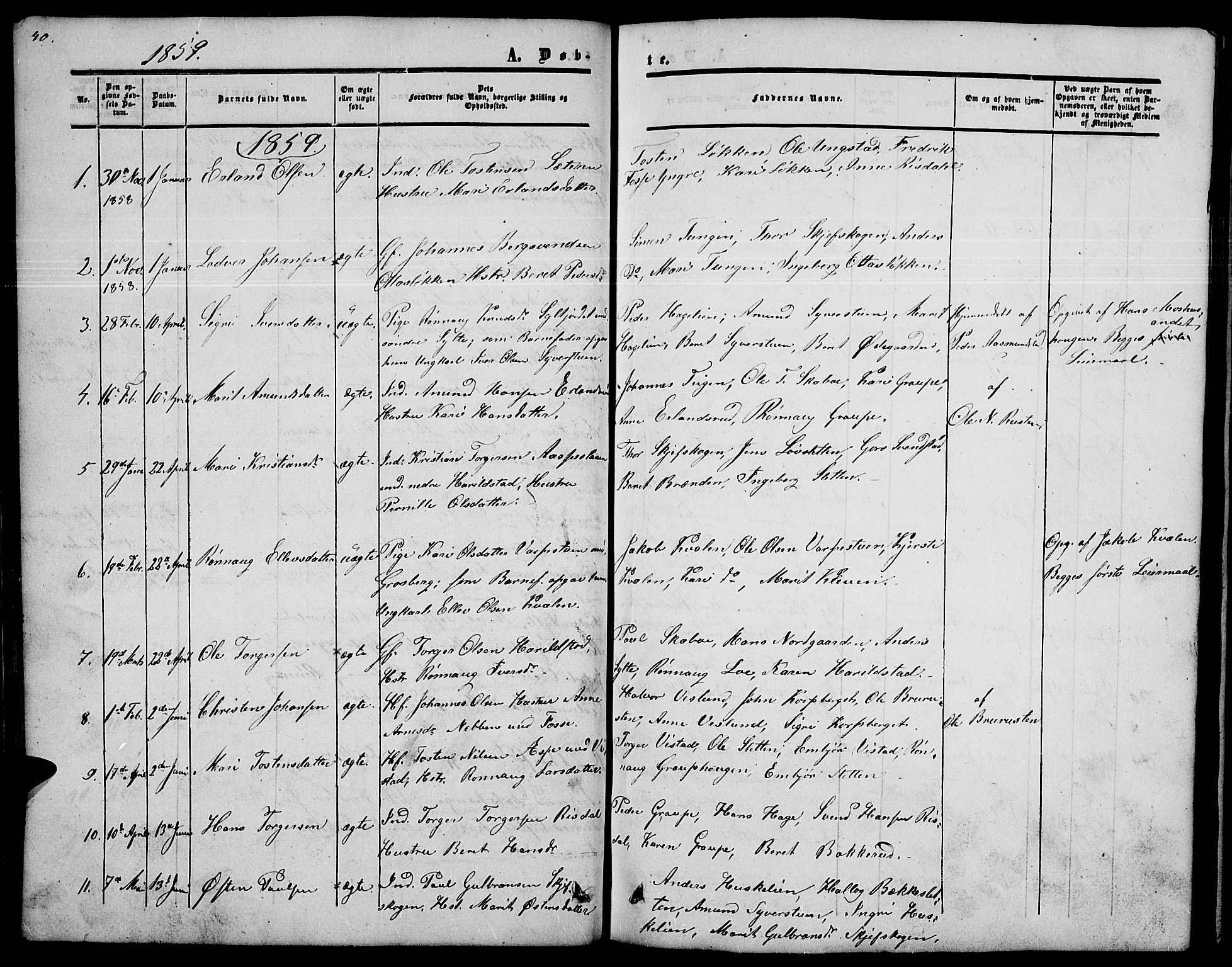 SAH, Nord-Fron prestekontor, Klokkerbok nr. 2, 1851-1883, s. 40