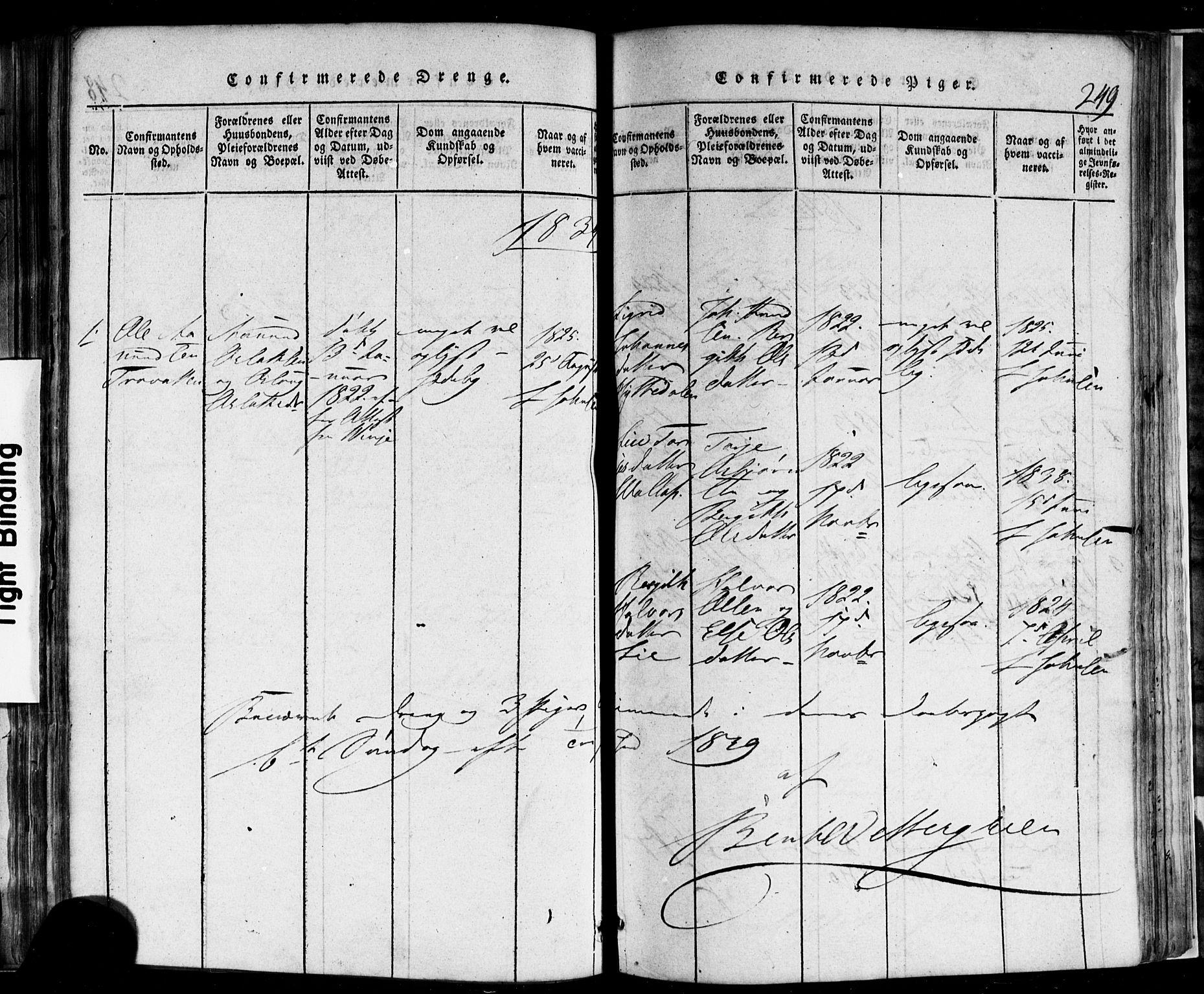SAKO, Rauland kirkebøker, F/Fa/L0002: Ministerialbok nr. 2, 1815-1860, s. 249