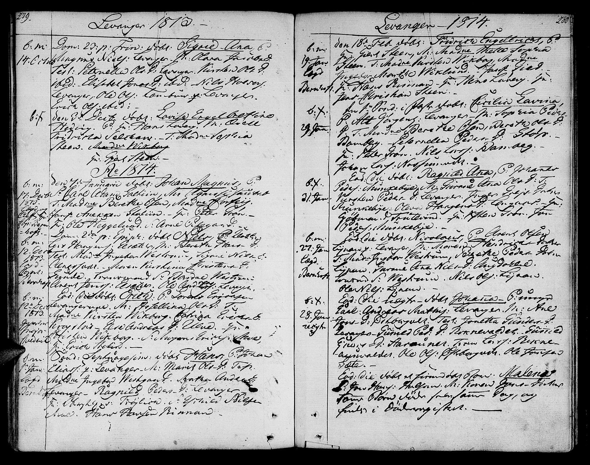 SAT, Ministerialprotokoller, klokkerbøker og fødselsregistre - Nord-Trøndelag, 717/L0145: Ministerialbok nr. 717A03 /3, 1810-1815, s. 279-280