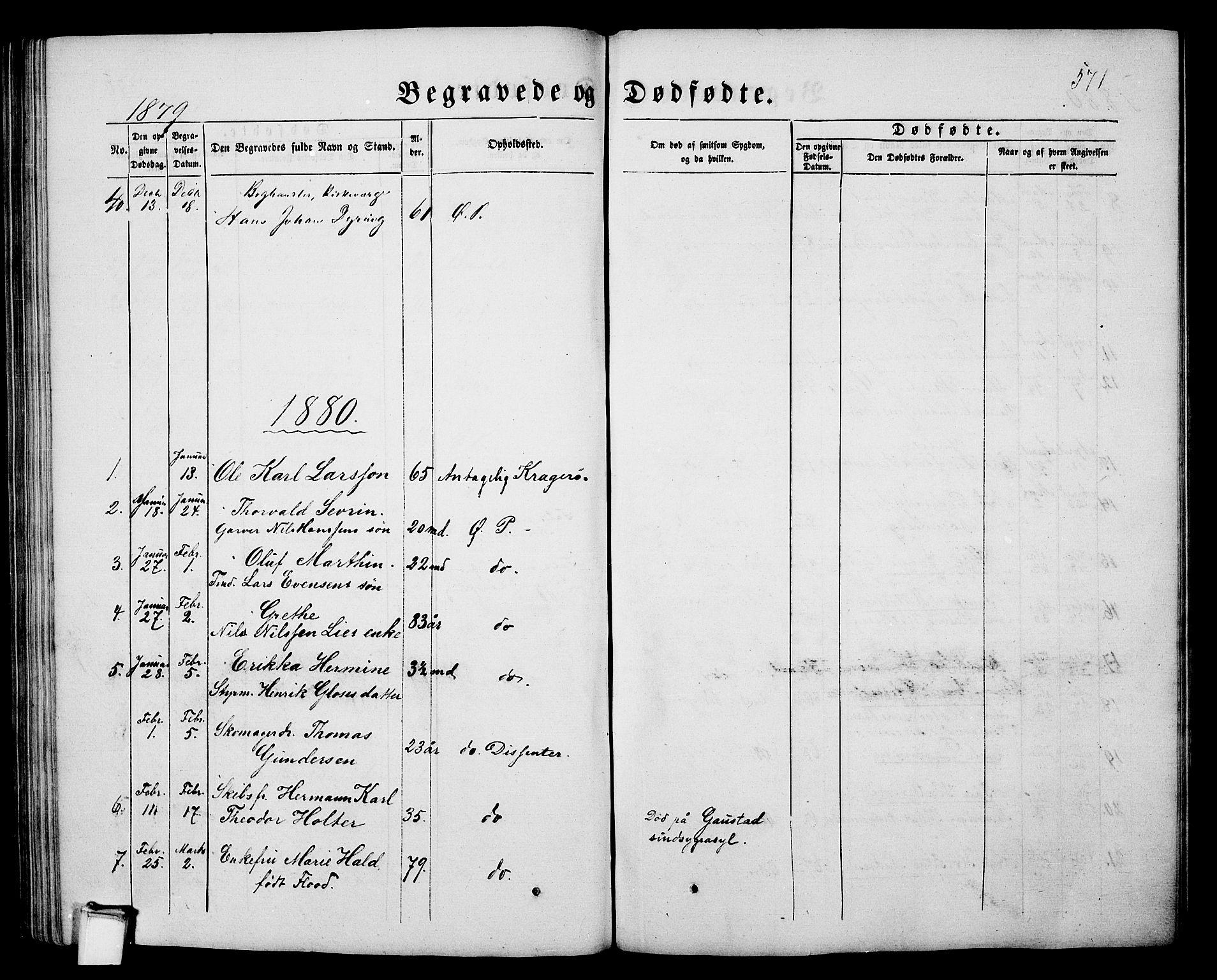 SAKO, Porsgrunn kirkebøker , G/Gb/L0004: Klokkerbok nr. II 4, 1853-1882, s. 571