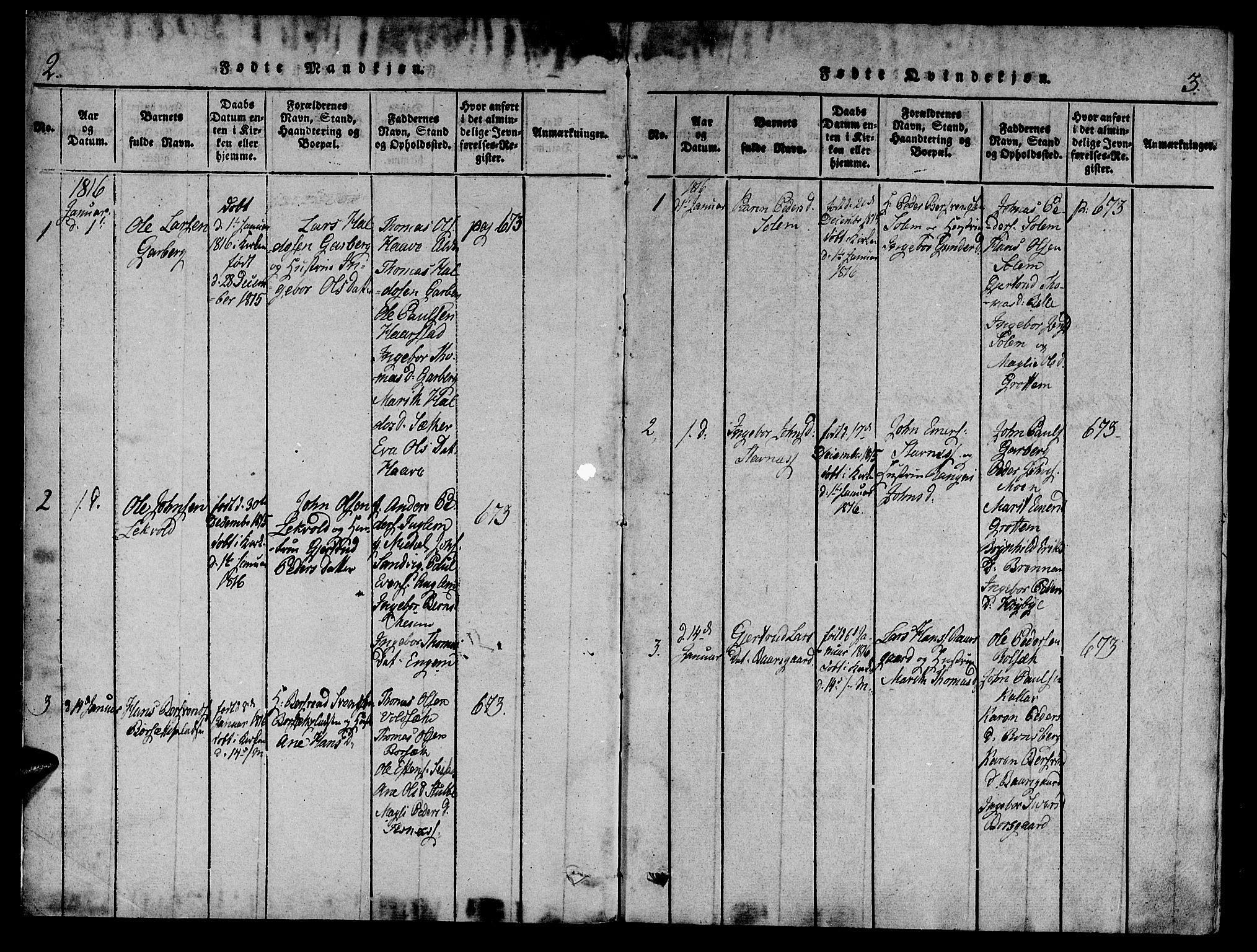 SAT, Ministerialprotokoller, klokkerbøker og fødselsregistre - Sør-Trøndelag, 695/L1141: Ministerialbok nr. 695A04 /1, 1816-1824, s. 2-3