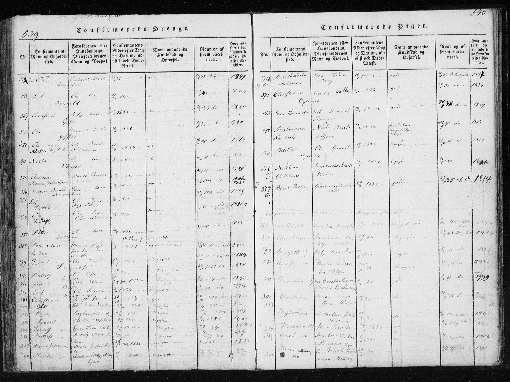 SAT, Ministerialprotokoller, klokkerbøker og fødselsregistre - Nord-Trøndelag, 749/L0469: Ministerialbok nr. 749A03, 1817-1857, s. 539-540