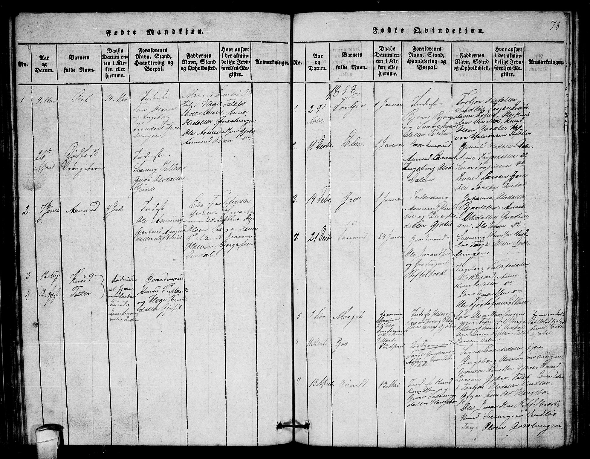 SAKO, Lårdal kirkebøker, G/Gb/L0001: Klokkerbok nr. II 1, 1815-1865, s. 78
