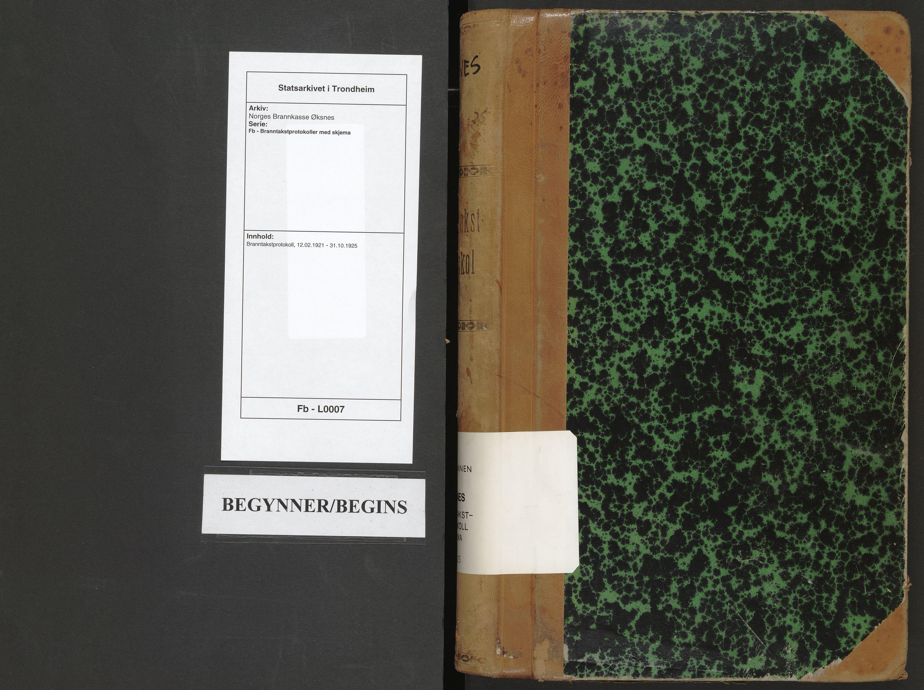 SAT, Norges Brannkasse Øksnes, Fb/L0007: Branntakstprotokoll, 1921-1925