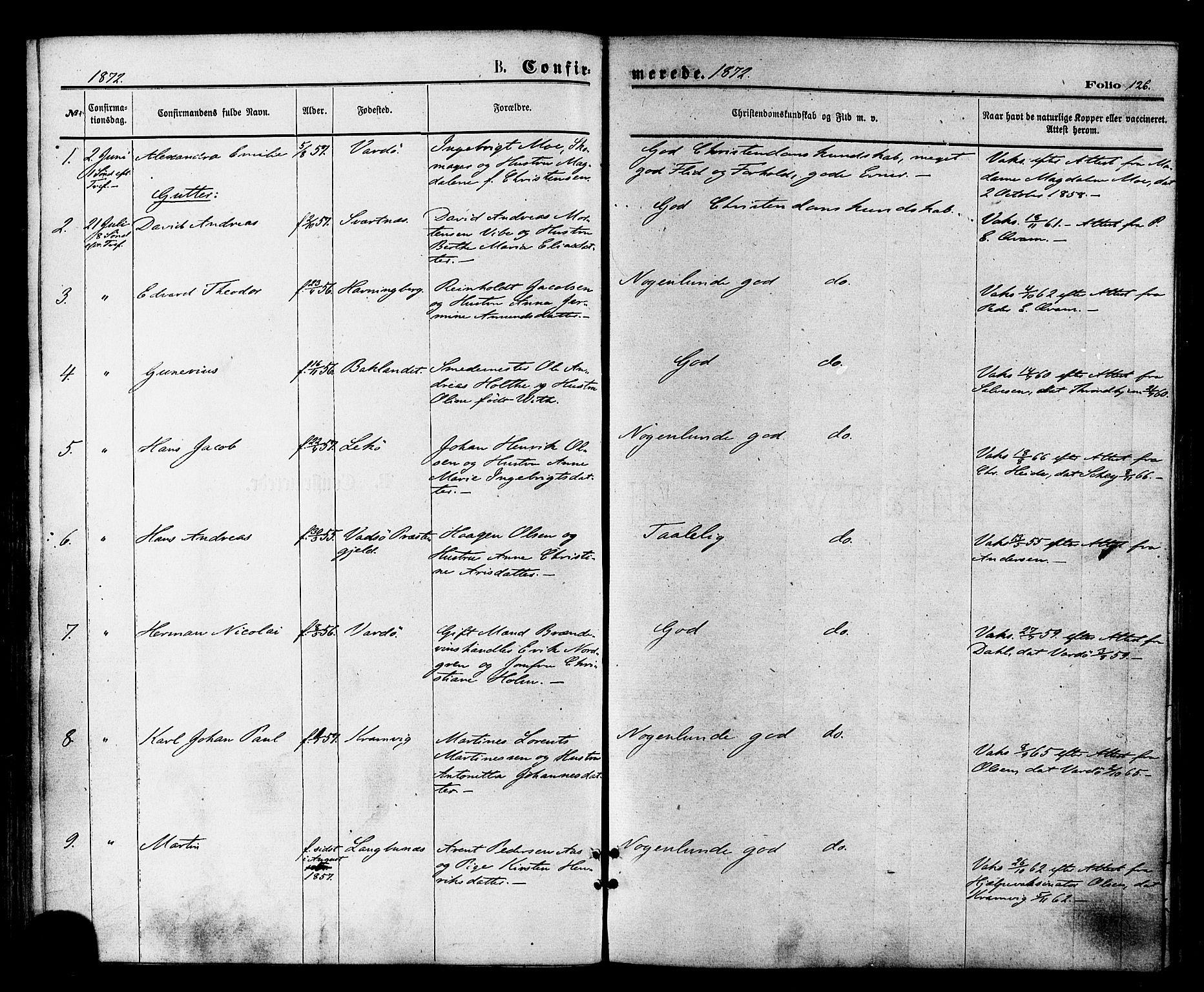 SATØ, Vardø sokneprestkontor, H/Ha/L0005kirke: Ministerialbok nr. 5, 1872-1878, s. 126