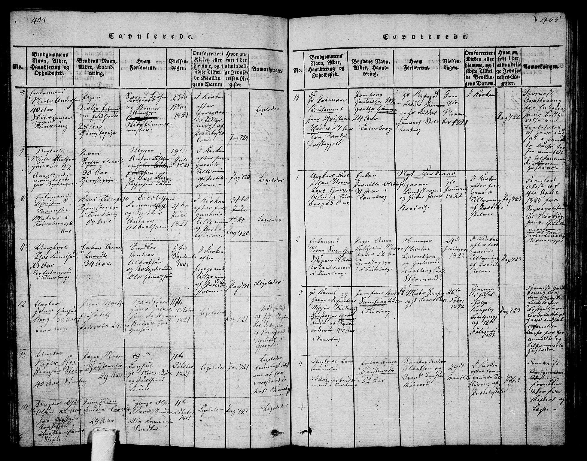 SAKO, Tønsberg kirkebøker, G/Ga/L0001: Klokkerbok nr. 1, 1813-1826, s. 404-405