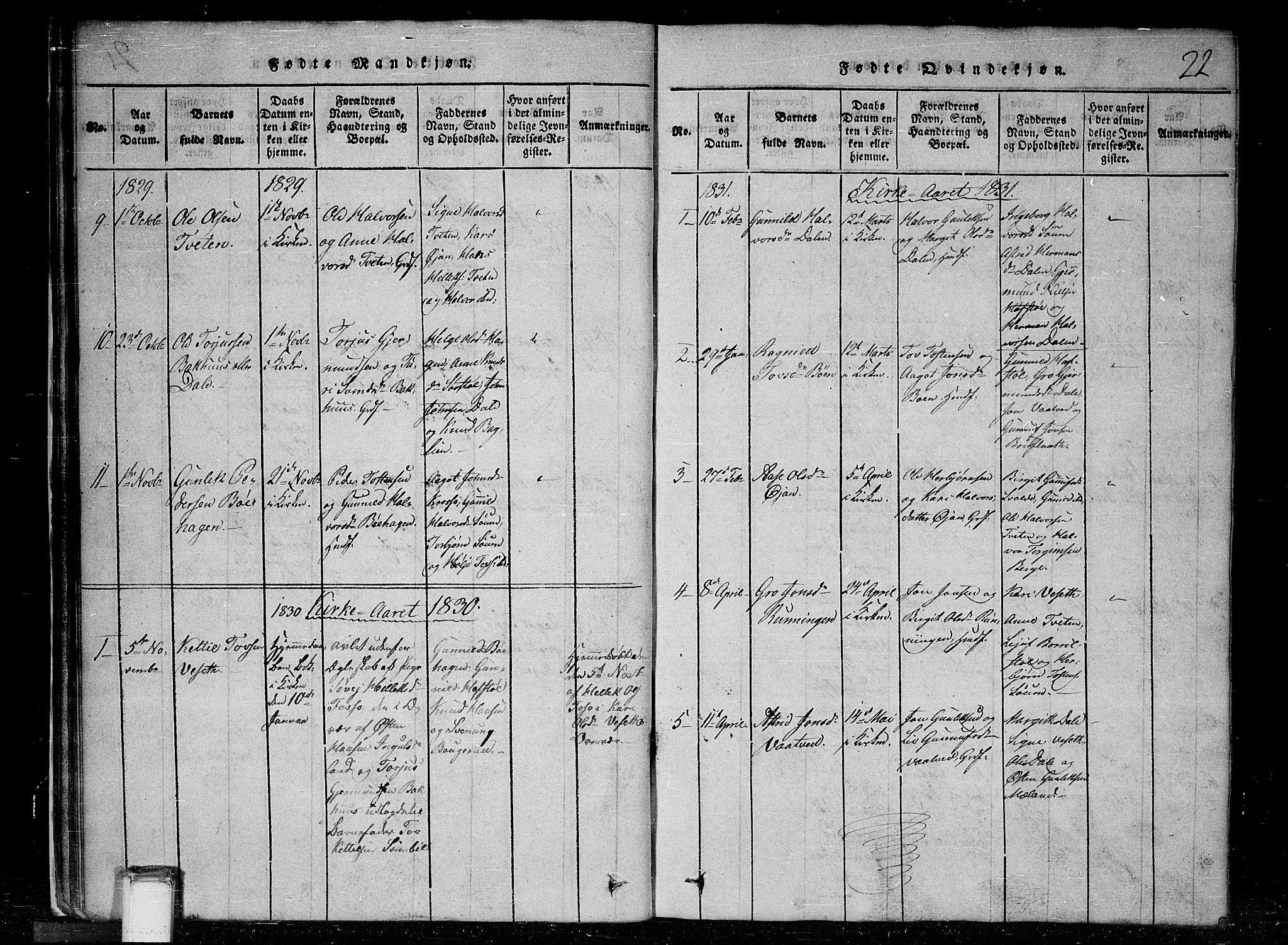 SAKO, Tinn kirkebøker, G/Gc/L0001: Klokkerbok nr. III 1, 1815-1879, s. 22