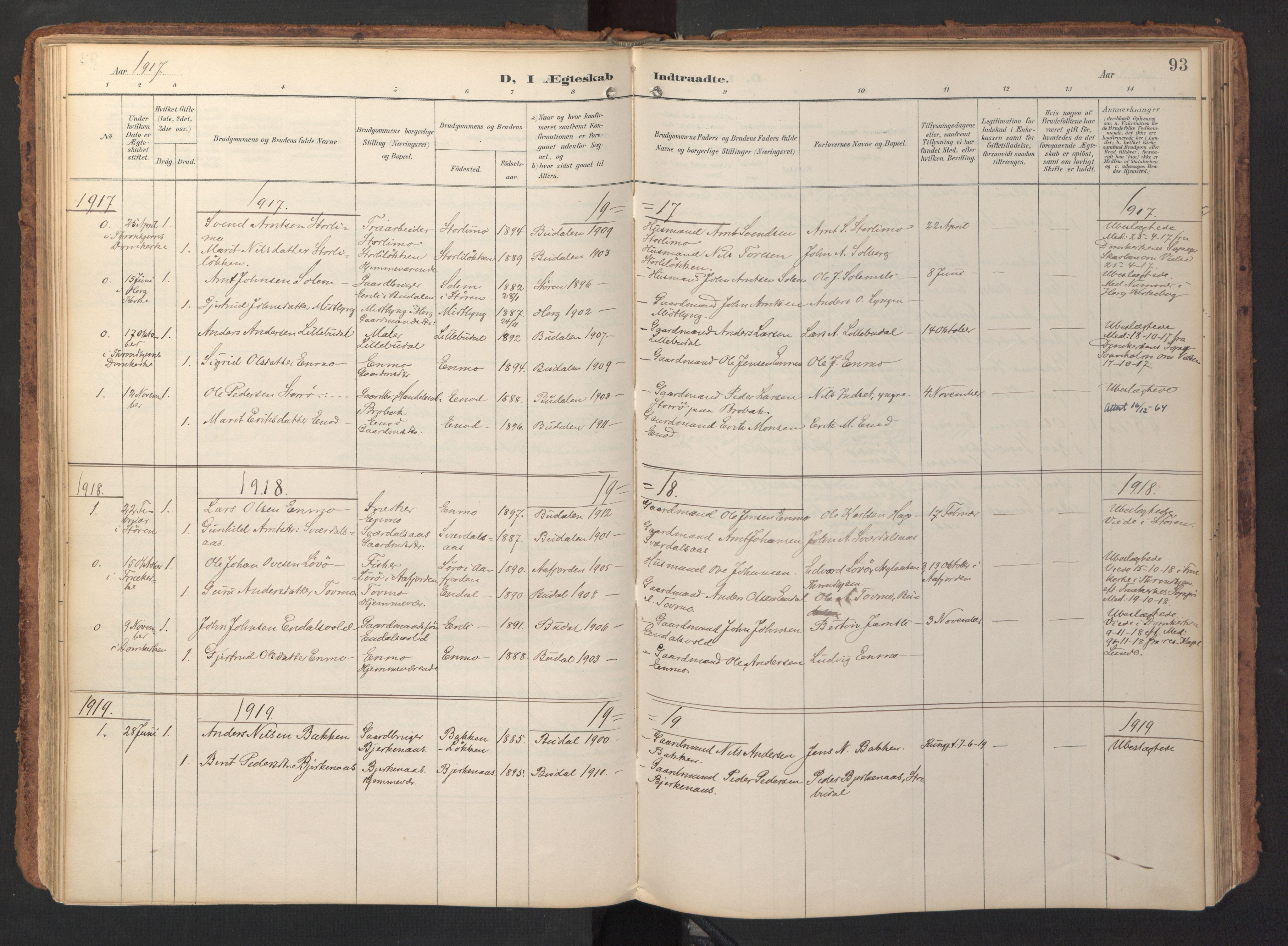 SAT, Ministerialprotokoller, klokkerbøker og fødselsregistre - Sør-Trøndelag, 690/L1050: Ministerialbok nr. 690A01, 1889-1929, s. 93