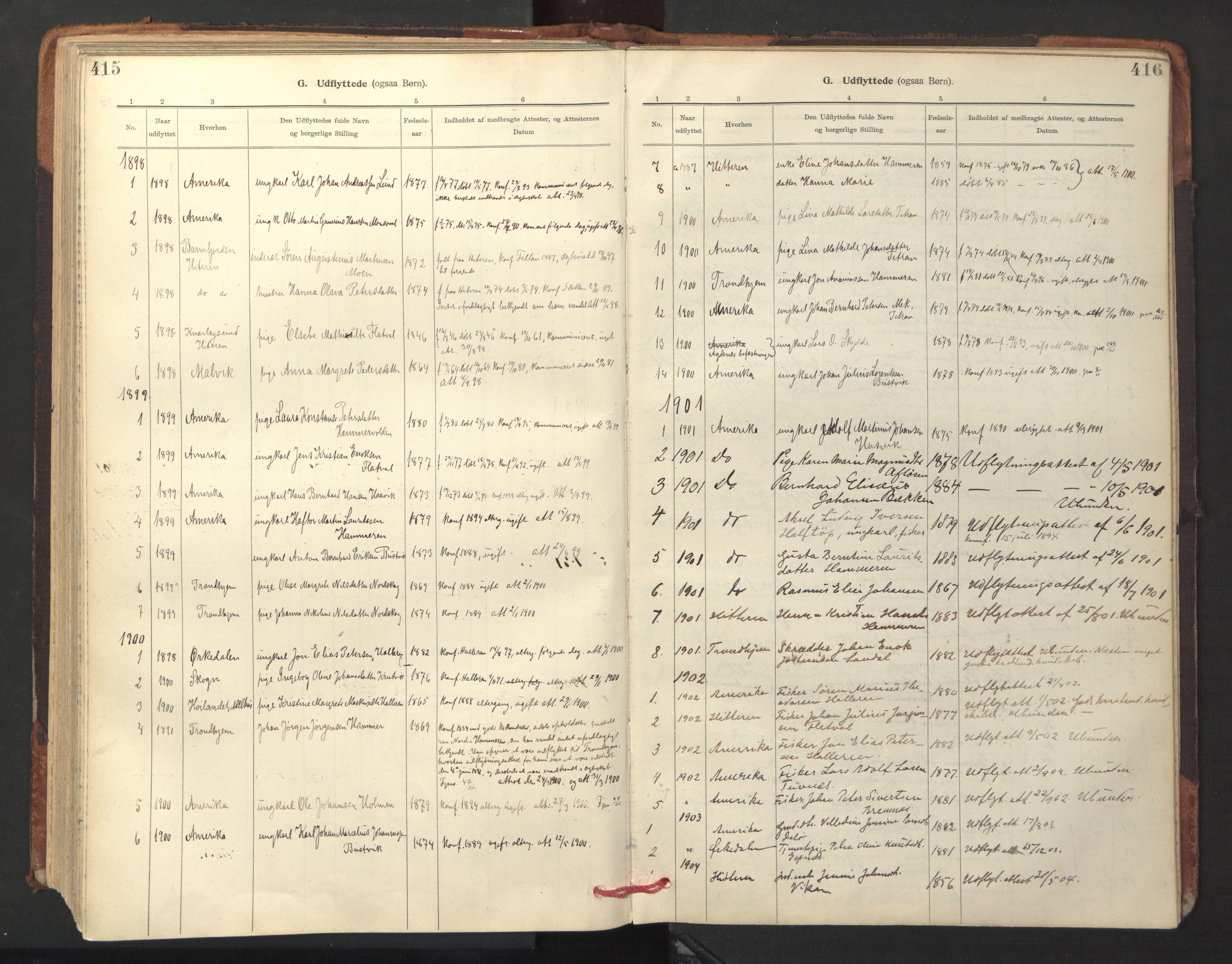 SAT, Ministerialprotokoller, klokkerbøker og fødselsregistre - Sør-Trøndelag, 641/L0596: Ministerialbok nr. 641A02, 1898-1915, s. 415-416